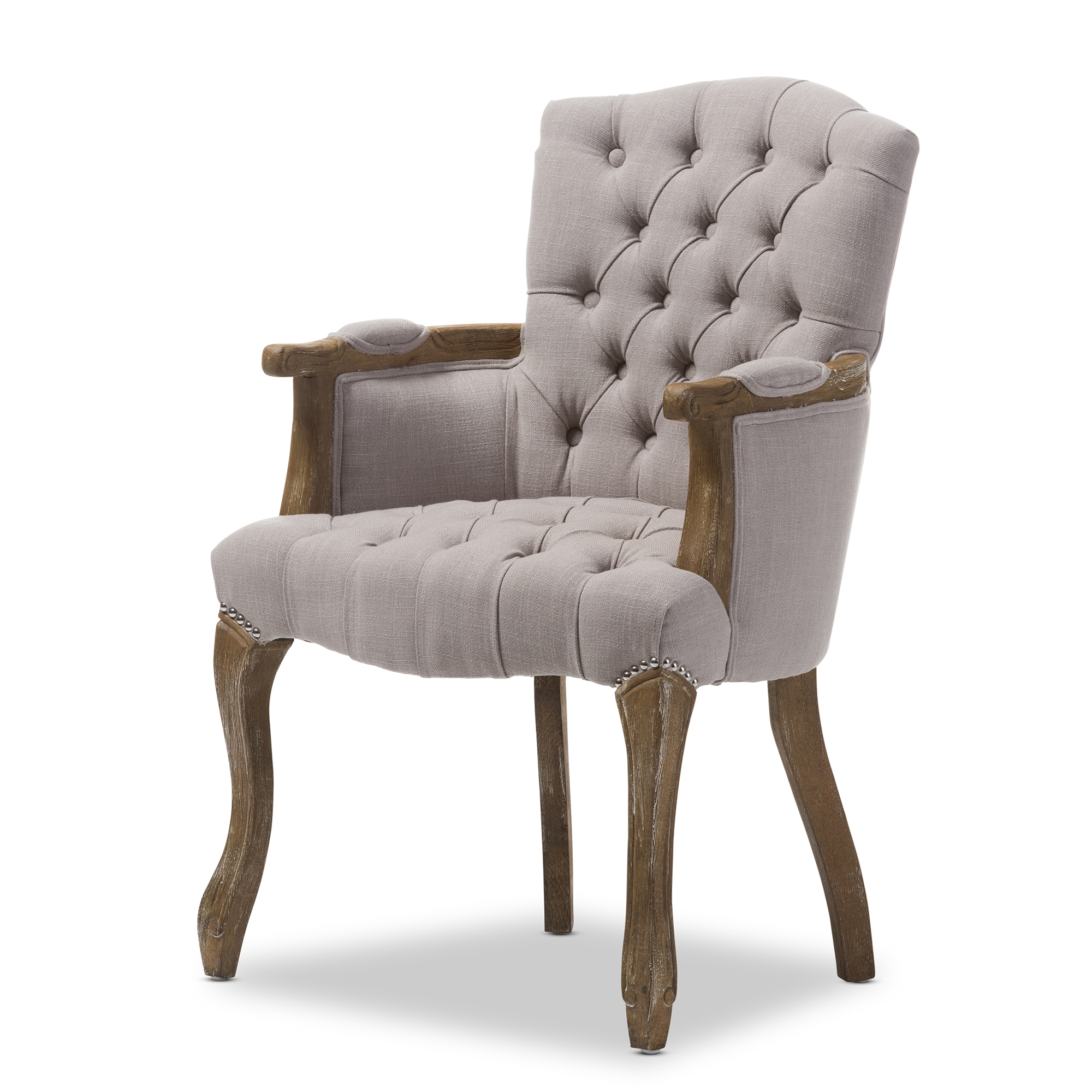 Bon Baxton Studio Clemence French Provincial Weathered Oak Beige Linen Upholstered  Armchair