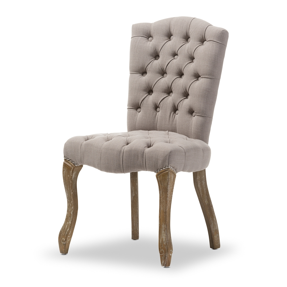 Modern french dining chair - Baxton Studio Clemence French Provincial Inspired Weathered Oak Beige Linen Upholstered Dining Side Chair