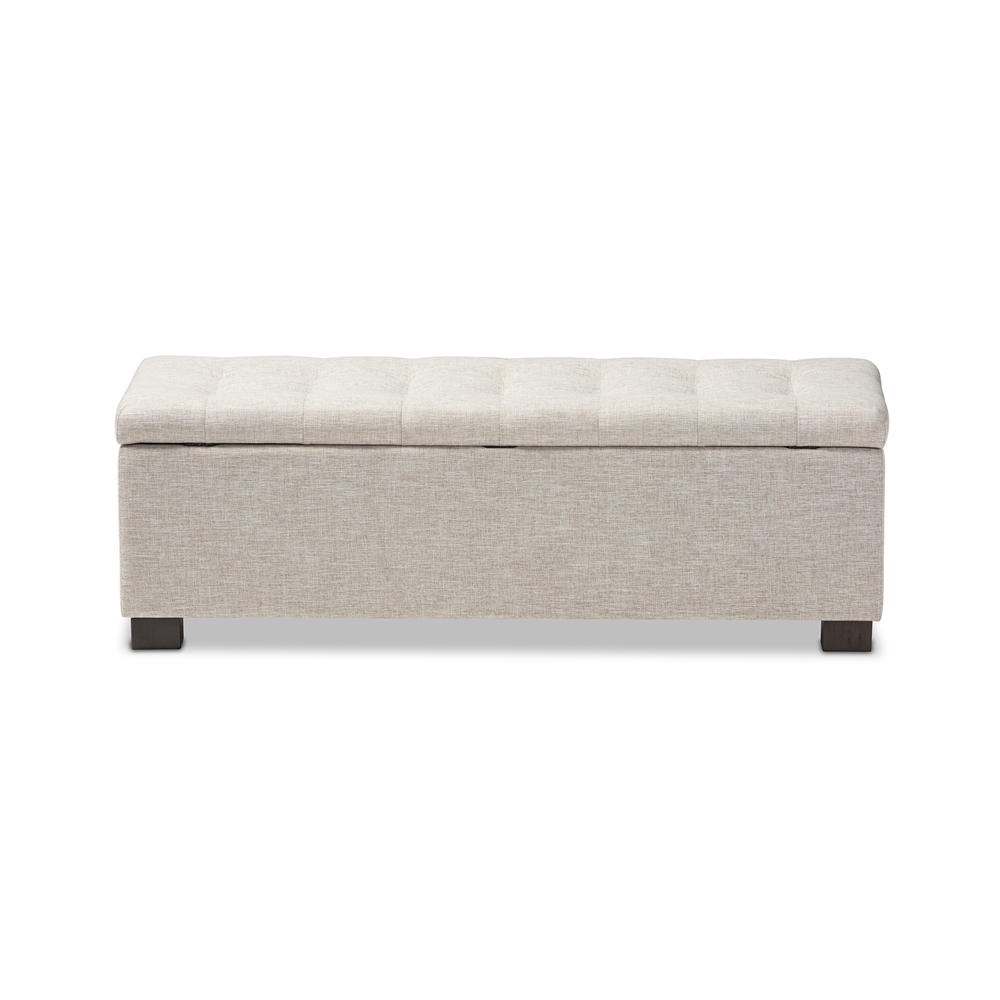 ... Baxton Studio Roanoke Modern and Contemporary Beige Fabric Upholstered  Grid-Tufting Storage Ottoman Bench ... - Baxton Studio Roanoke Modern And Contemporary Beige Fabric
