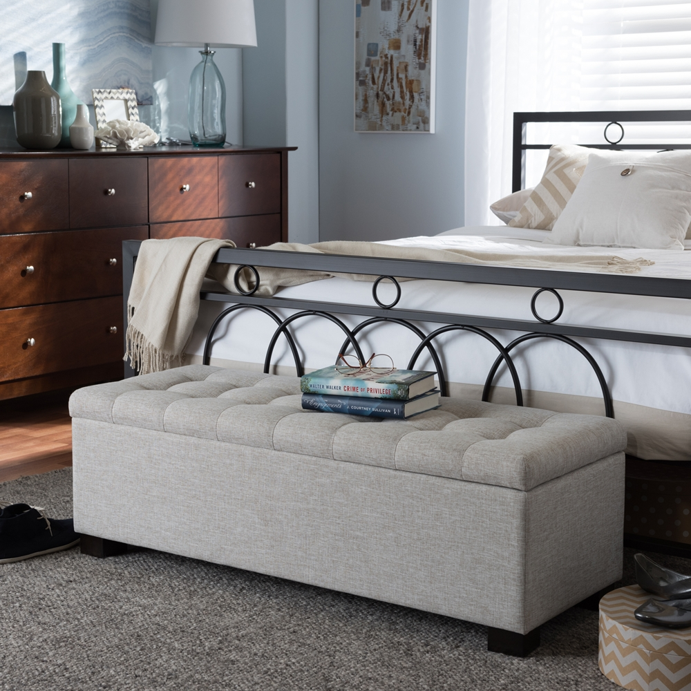 Baxton Studio Roanoke Modern And Contemporary Beige Fabric Upholstered Grid Tufting Storage