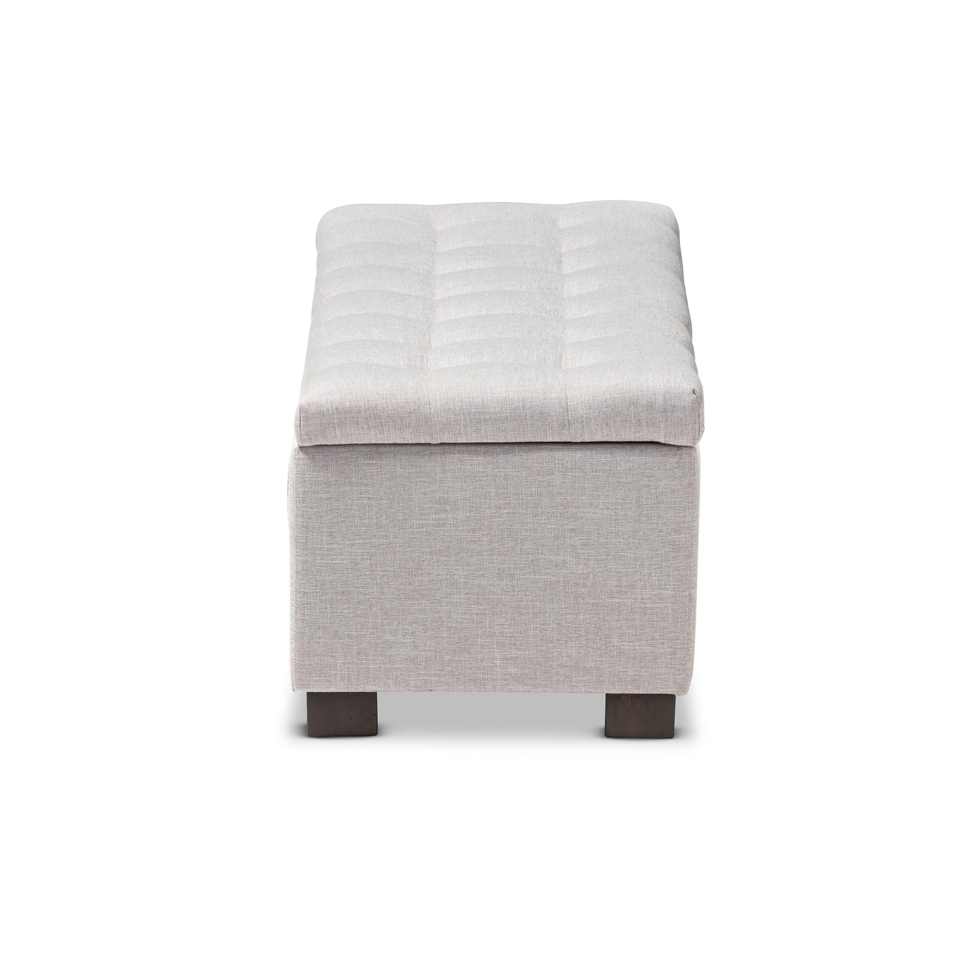 ... Baxton Studio Roanoke Modern And Contemporary Grayish Beige Fabric  Upholstered Grid Tufting Storage Ottoman Bench ...