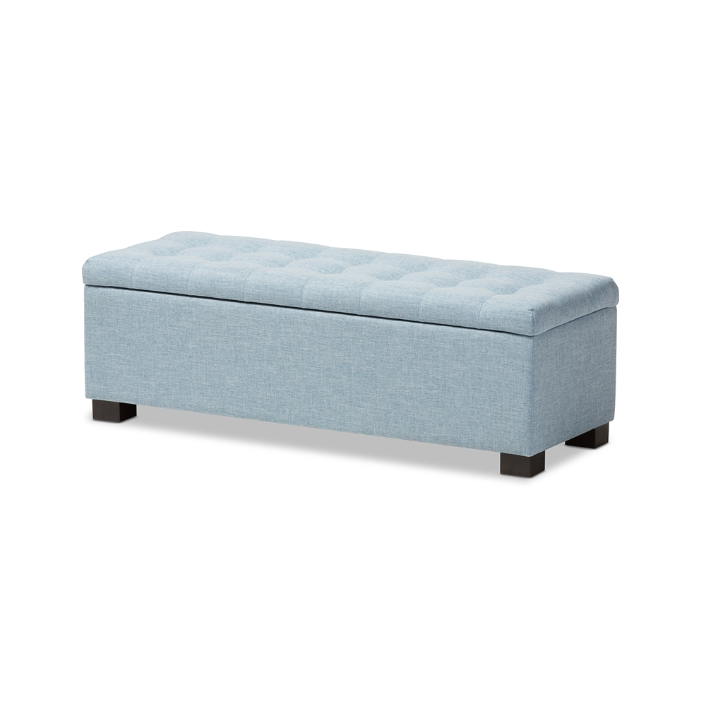 Baxton Studio Roanoke Modern and Contemporary Light Blue Fabric Upholstered  Grid-Tufting Storage Ottoman Bench - Baxton Studio Roanoke Modern And Contemporary Light Blue Fabric