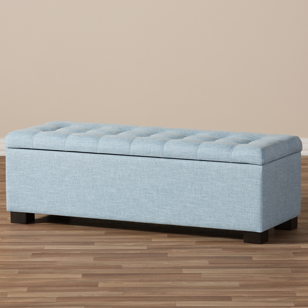 ... Baxton Studio Roanoke Modern and Contemporary Light Blue Fabric  Upholstered Grid-Tufting Storage Ottoman Bench - Baxton Studio Roanoke Modern And Contemporary Light Blue Fabric