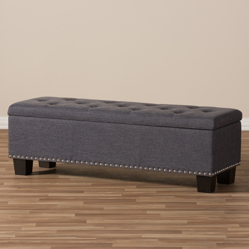 Baxton studio hannah modern and contemporary dark grey fabric upholstered button tufting storage Gray storage bench