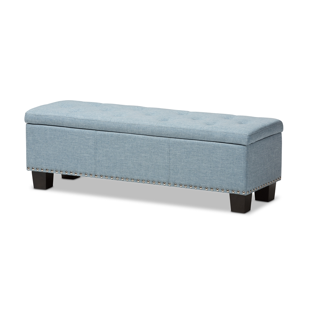 Baxton Studio Hannah Modern And Contemporary Light Blue Fabric Upholstered Button Tufting Storage Ottoman Bench