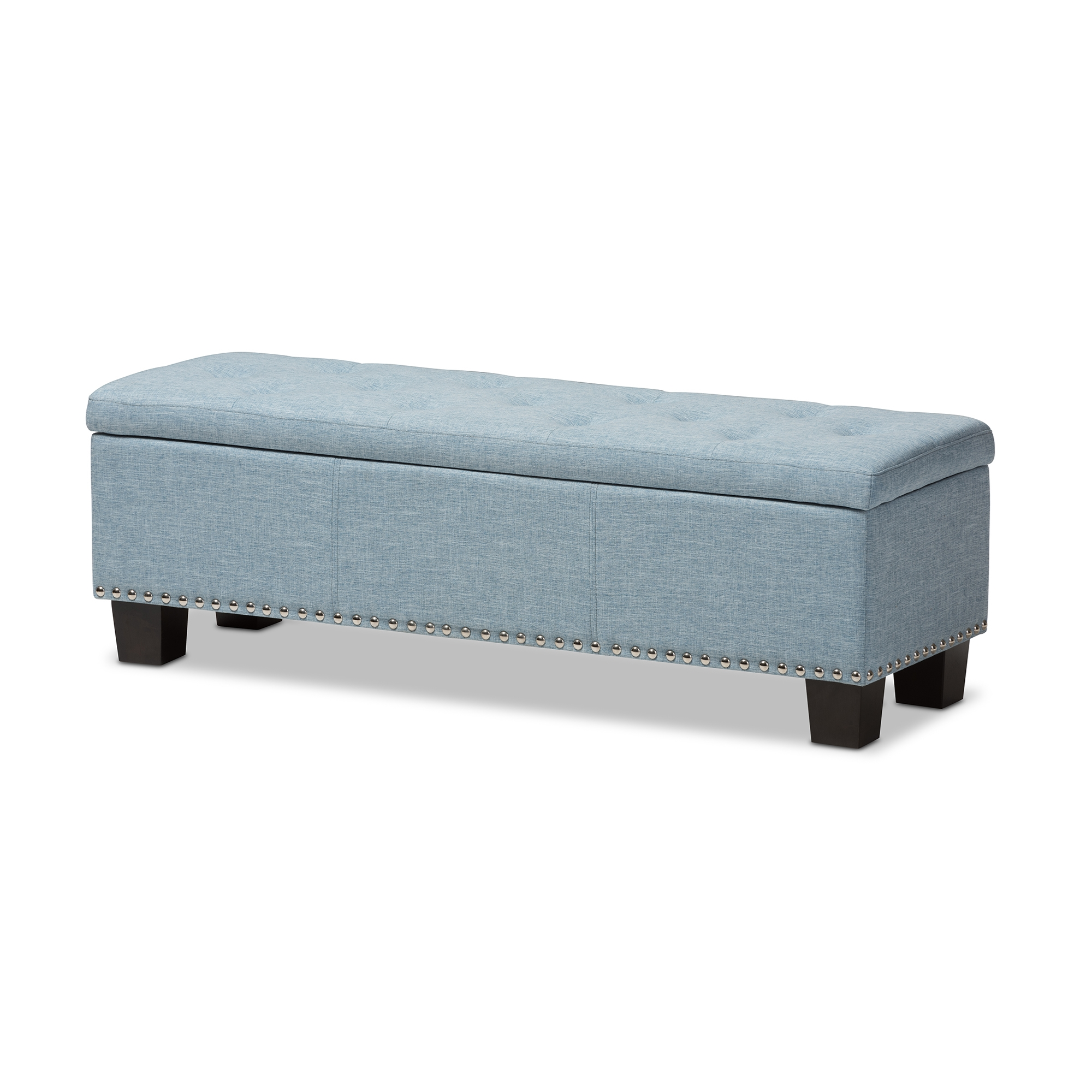 Baxton Studio Hannah Modern And Contemporary Light Blue Fabric Upholstered  Button Tufting Storage Ottoman Bench Part 55