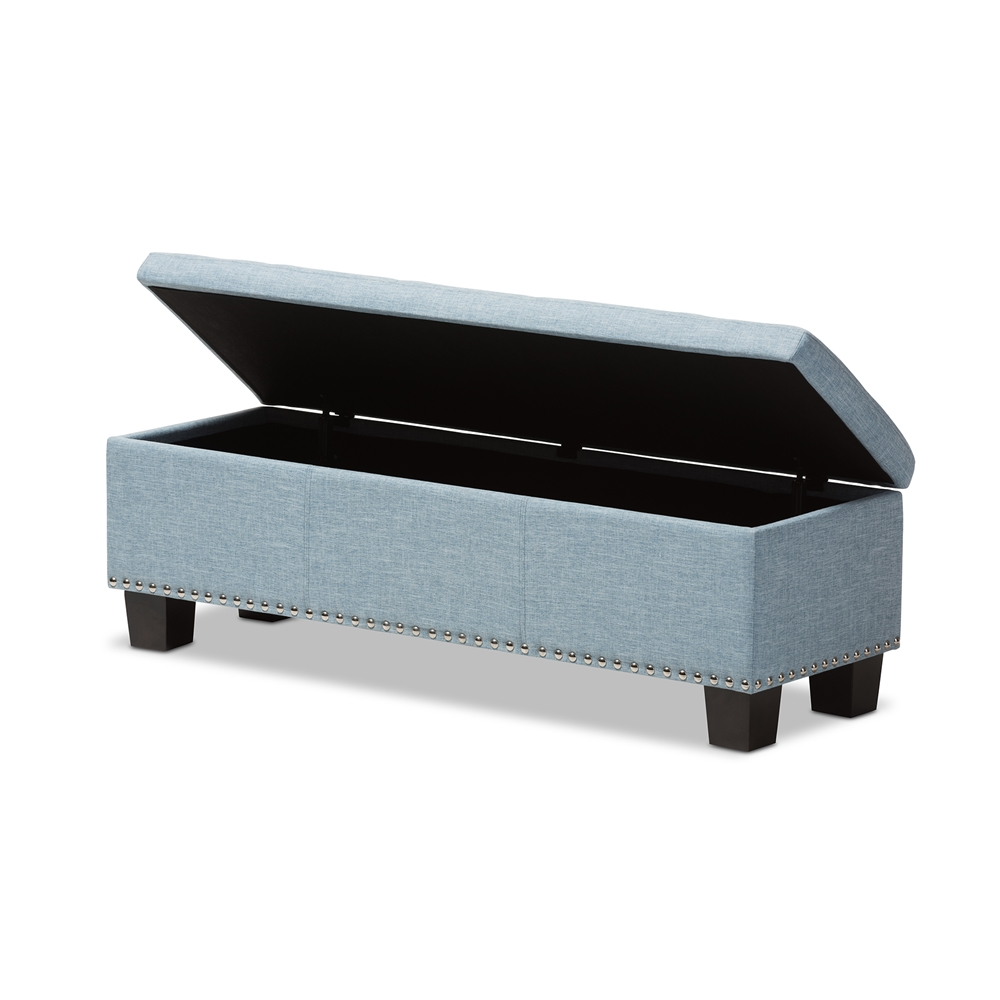 Baxton Studio Hannah Modern And Contemporary Light Blue Fabric Upholstered On Tufting Storage Ottoman Bench