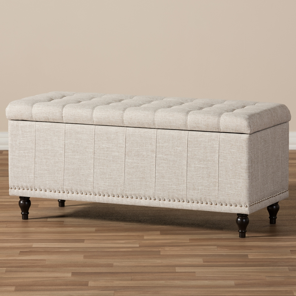 ... Baxton Studio Kaylee Modern Classic Beige Fabric Upholstered  Button-Tufting Storage Ottoman Bench - BSOBBT3137 - Baxton Studio Kaylee Modern Classic Beige Fabric Upholstered