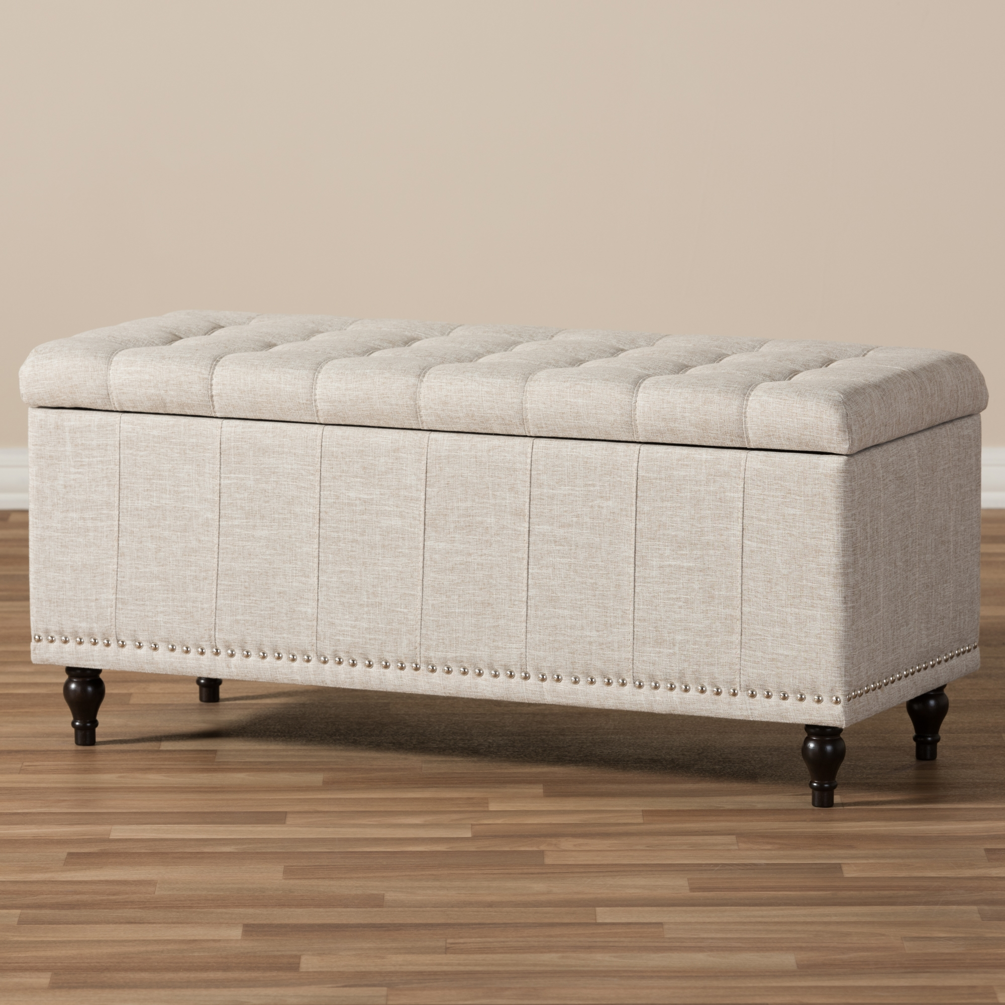... Baxton Studio Kaylee Modern Classic Beige Fabric Upholstered  Button Tufting Storage Ottoman Bench   BSOBBT3137
