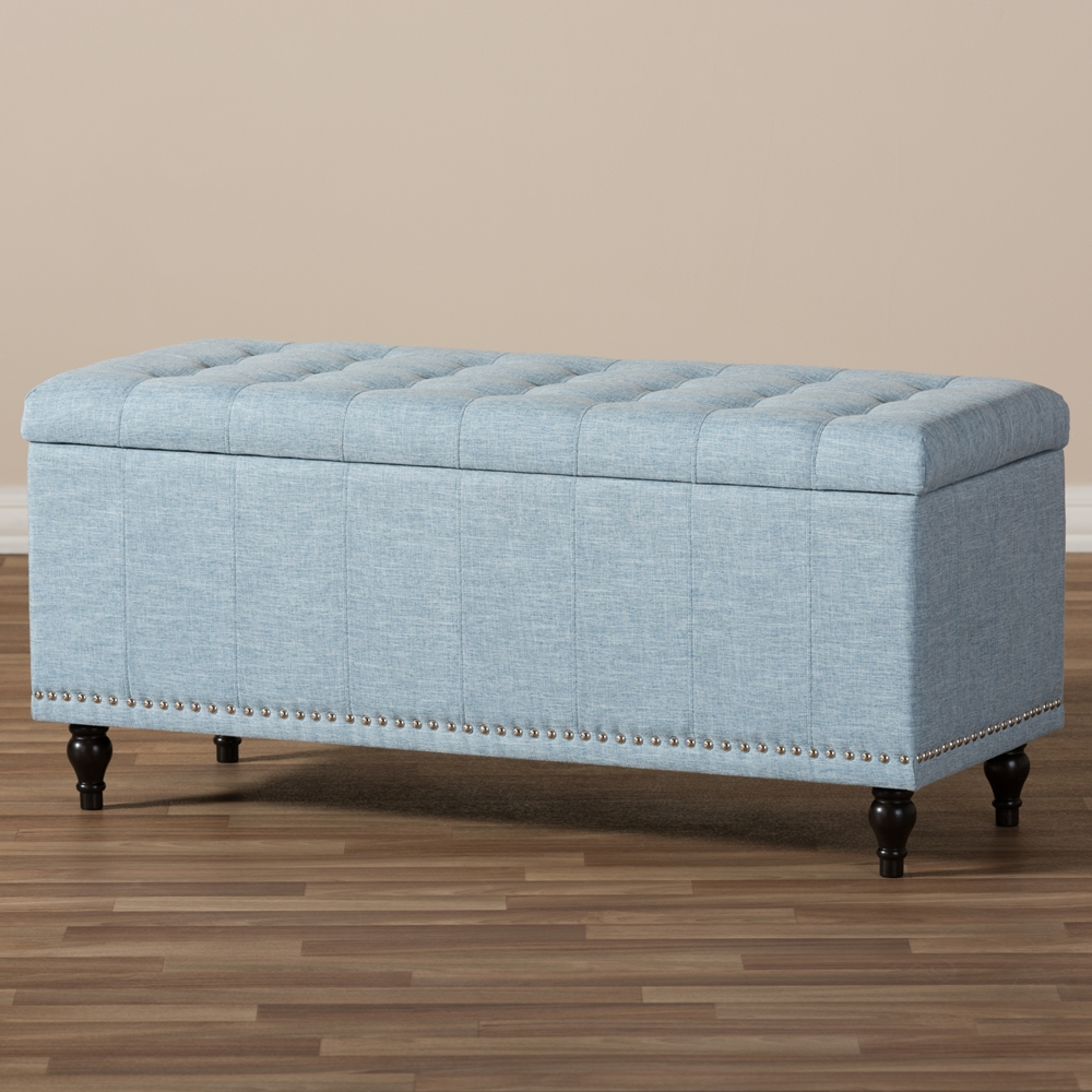 ... Baxton Studio Kaylee Modern Classic Light Blue Fabric Upholstered  Button-Tufting Storage Ottoman Bench - - Baxton Studio Kaylee Modern Classic Light Blue Fabric Upholstered
