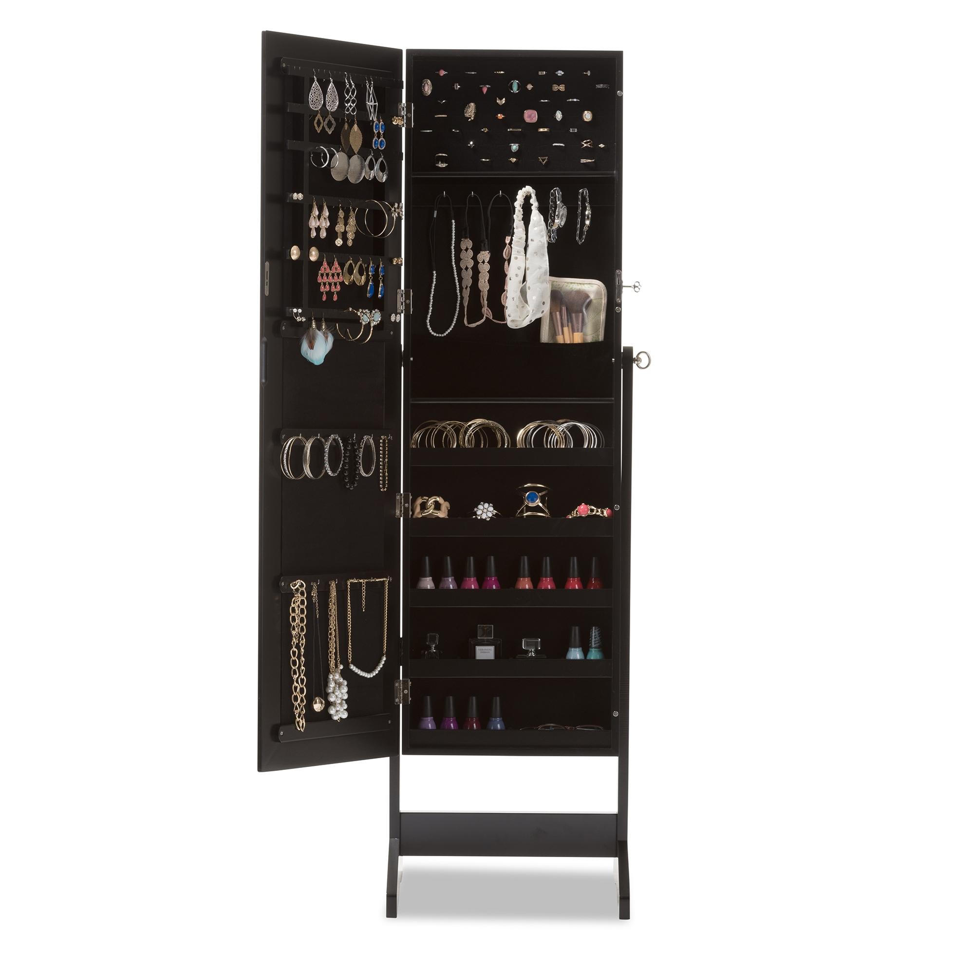 baxton studio alena black finishing wood free standing cheval mirror jewelry armoire