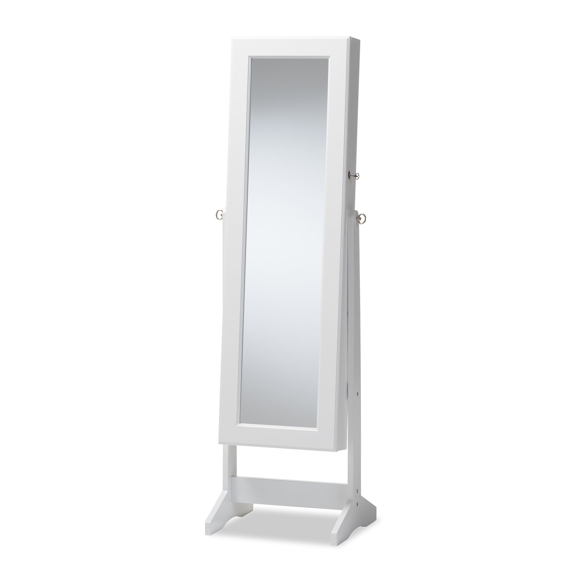 baxton studio alena white finishing wood free standing cheval mirror jewelry armoire affordable modern furniture in