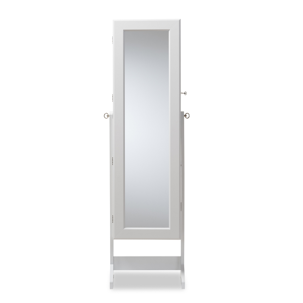 Baxton studio alena white finishing wood free standing for Cheval mirror
