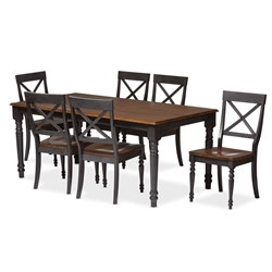 baxton studio rosalind shabby chic country cottage weathered dove grey and oak brown 2 - Affordable Dining Sets