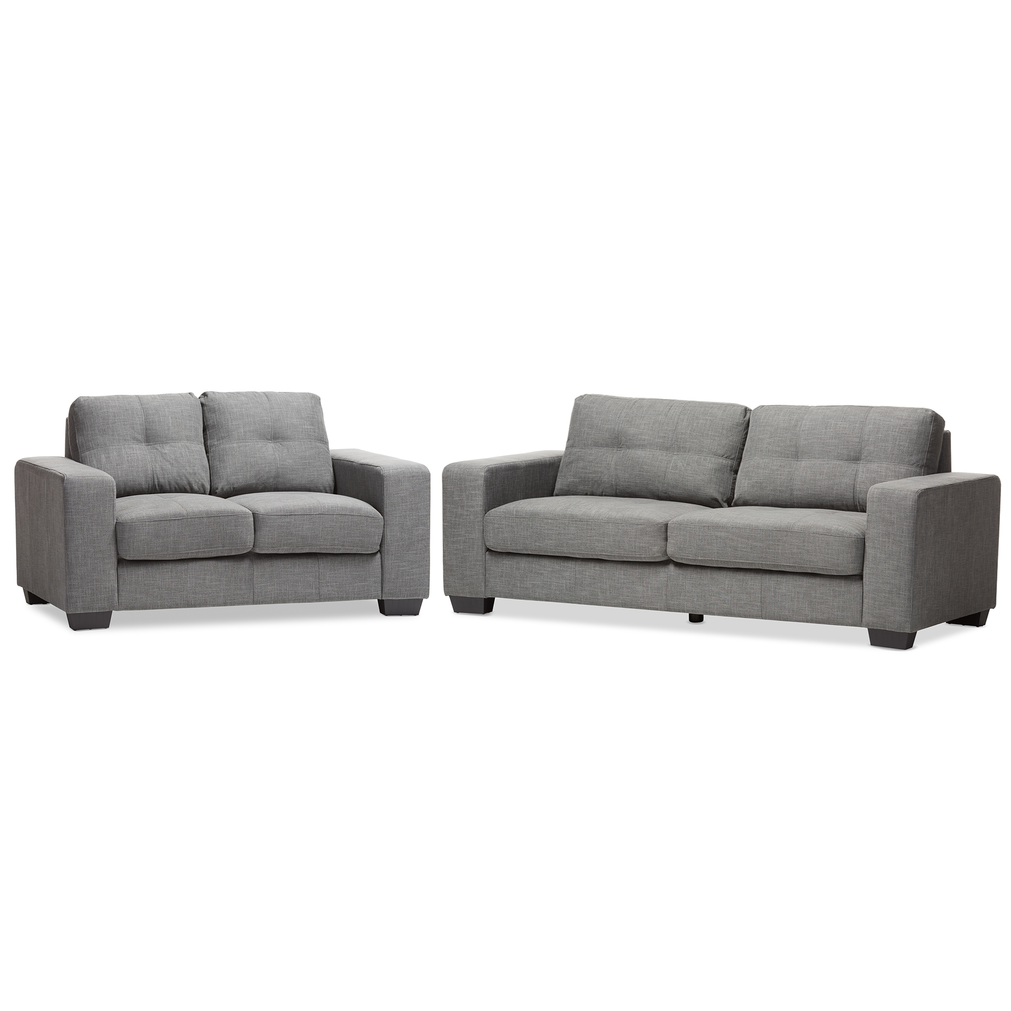 Baxton Studio Westerlund Modern And Contemporary Shadow Gray Fabric  Upholstered 2 Piece Loveseat And Sofa Livingroom Set
