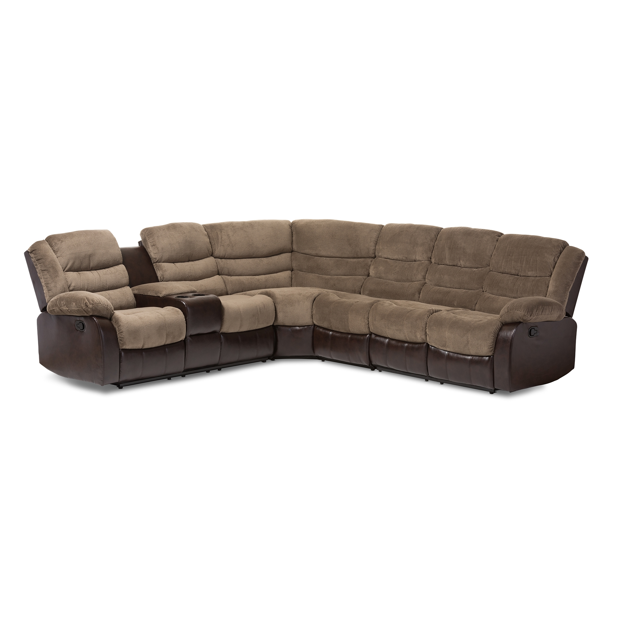 Baxton Studio Robinson Modern And Contemporary Brown Towel Fabric And Brown  Faux Leather Two Tone 7 Piece Sectional Sofa