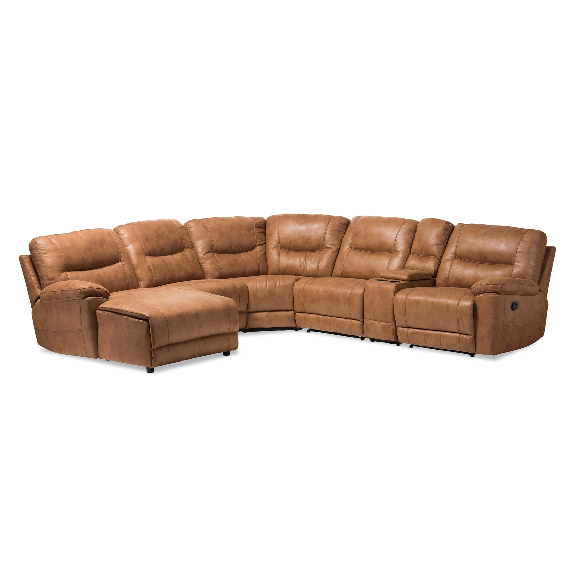Baxton Studio Mistral Modern and Contemporary Light Brown Palomino Suede 6-Piece Sectional with Recliners Corner Lounge Suite  sc 1 st  Baxton Studio Outlet : reclining lounge suites - islam-shia.org