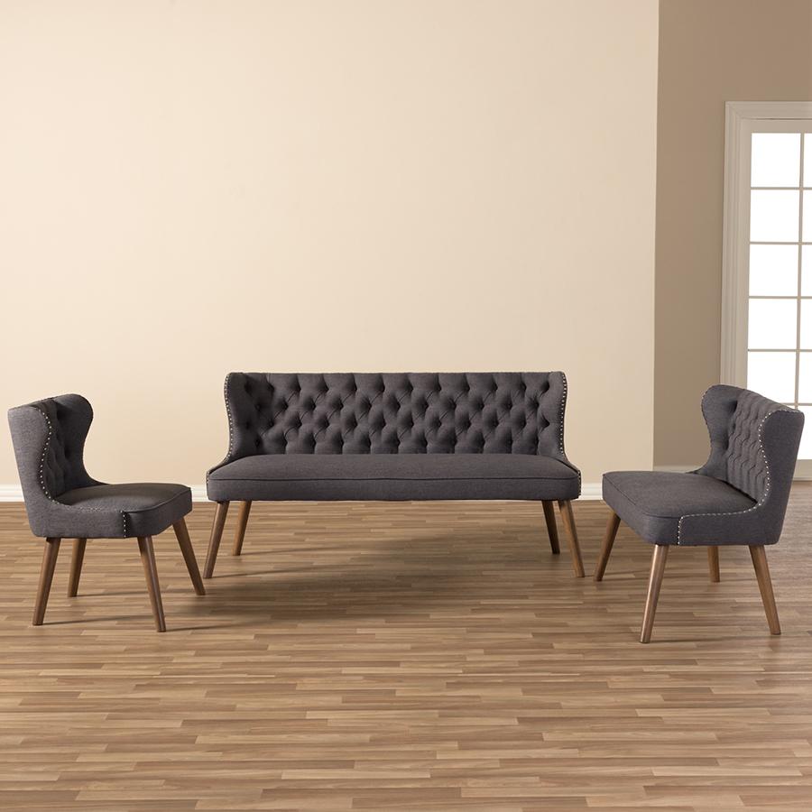 Baxton Studio Scarlett Mid Century Modern Walnut Brown Wood And Dark Grey Fabric Upholstered