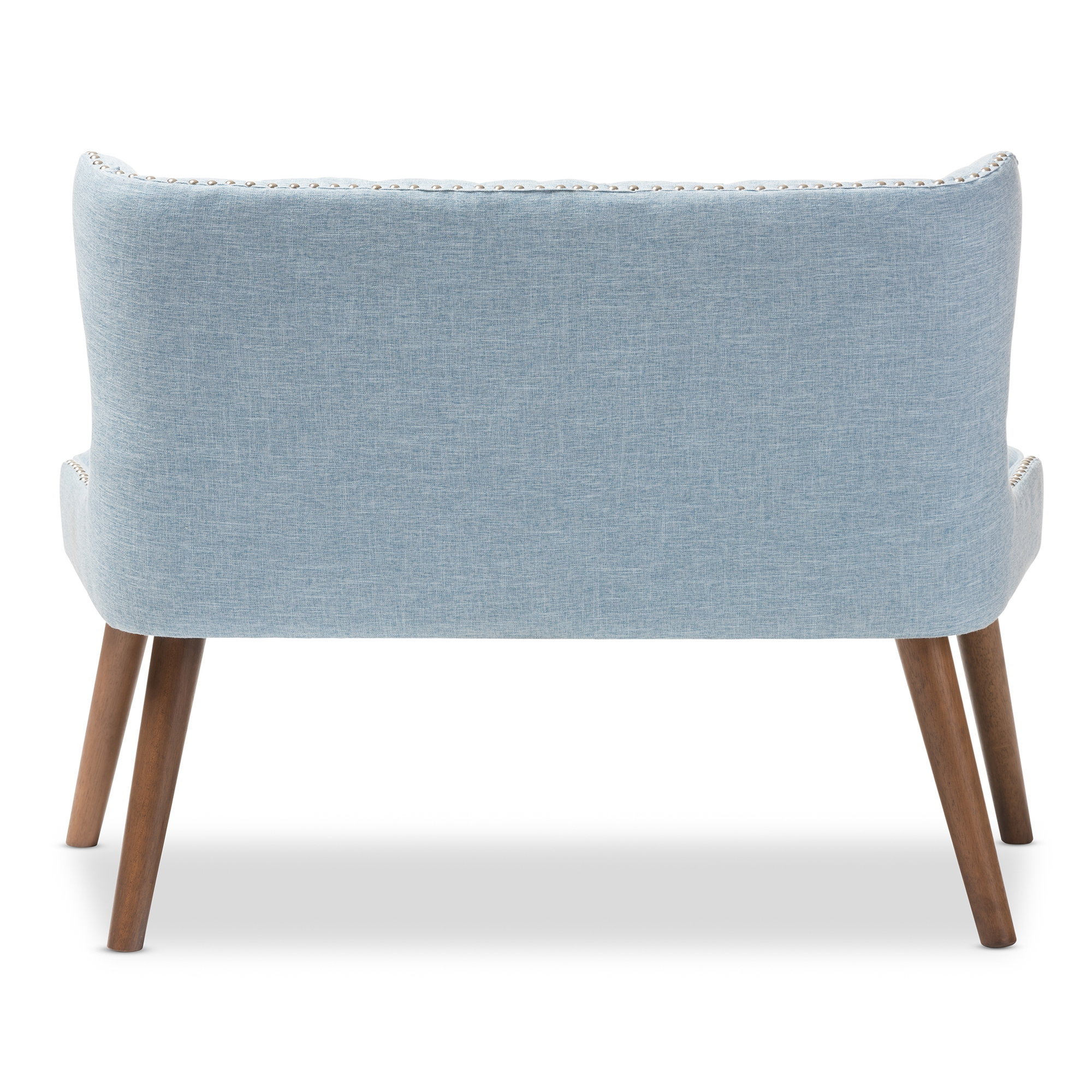 baxton studio scarlett midcentury modern brown wood and light blue fabric upholstered button