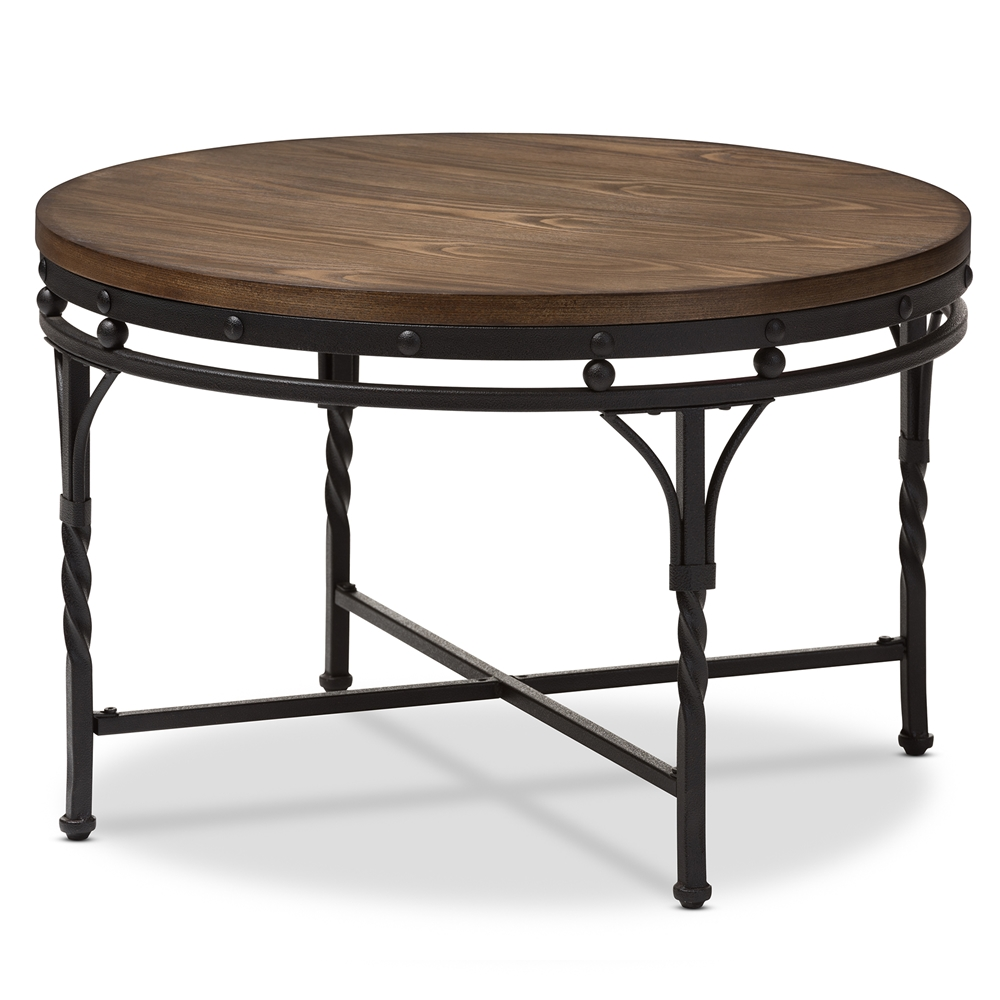 Baxton Studio Austin Vintage Industrial Antique Bronze Round Coffee Cocktail Occasional Table Affordable Modern Furniture In