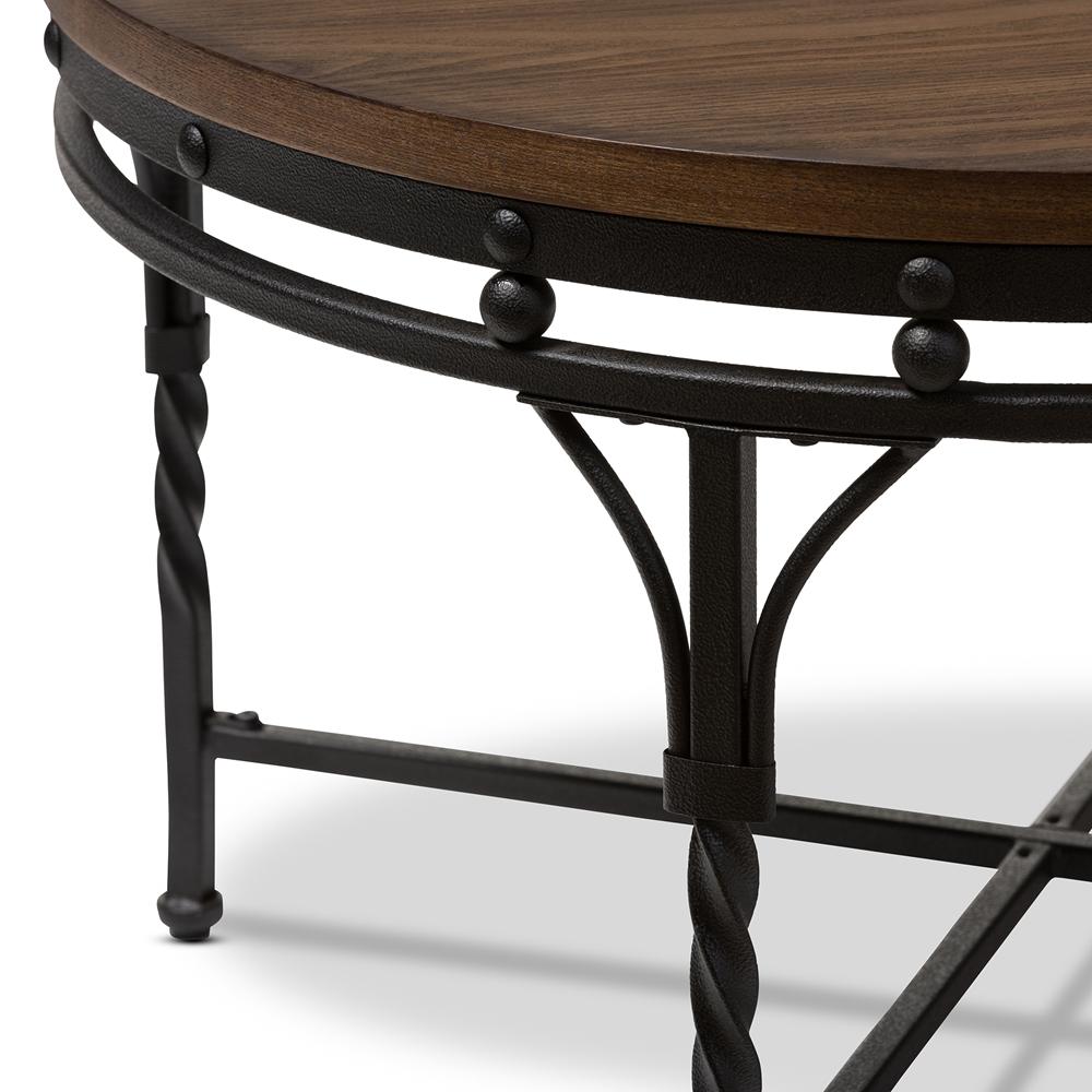 Industrial Round Coffee Table Baxton Studio Austin Vintage Industrial Antique Bronze Round