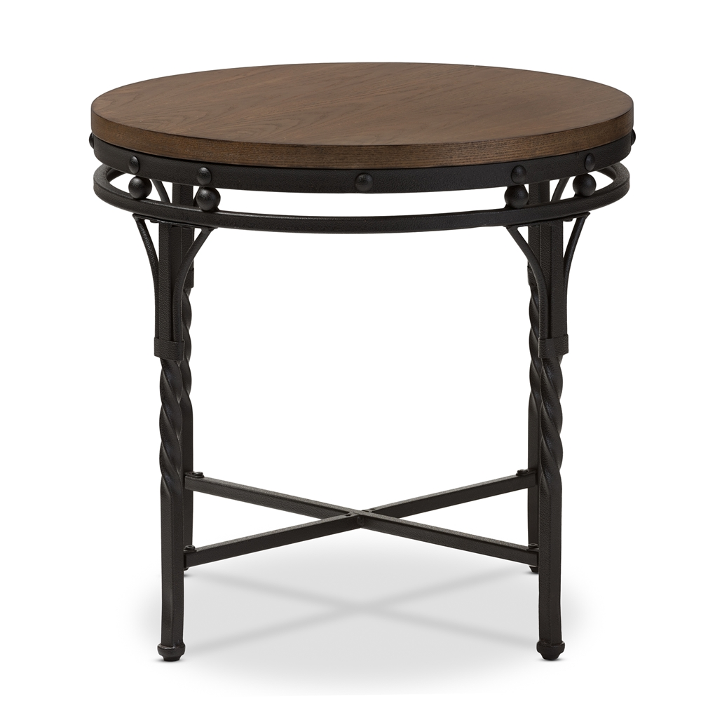 baxton studio austin vintage industrial antique bronze round end table. Black Bedroom Furniture Sets. Home Design Ideas