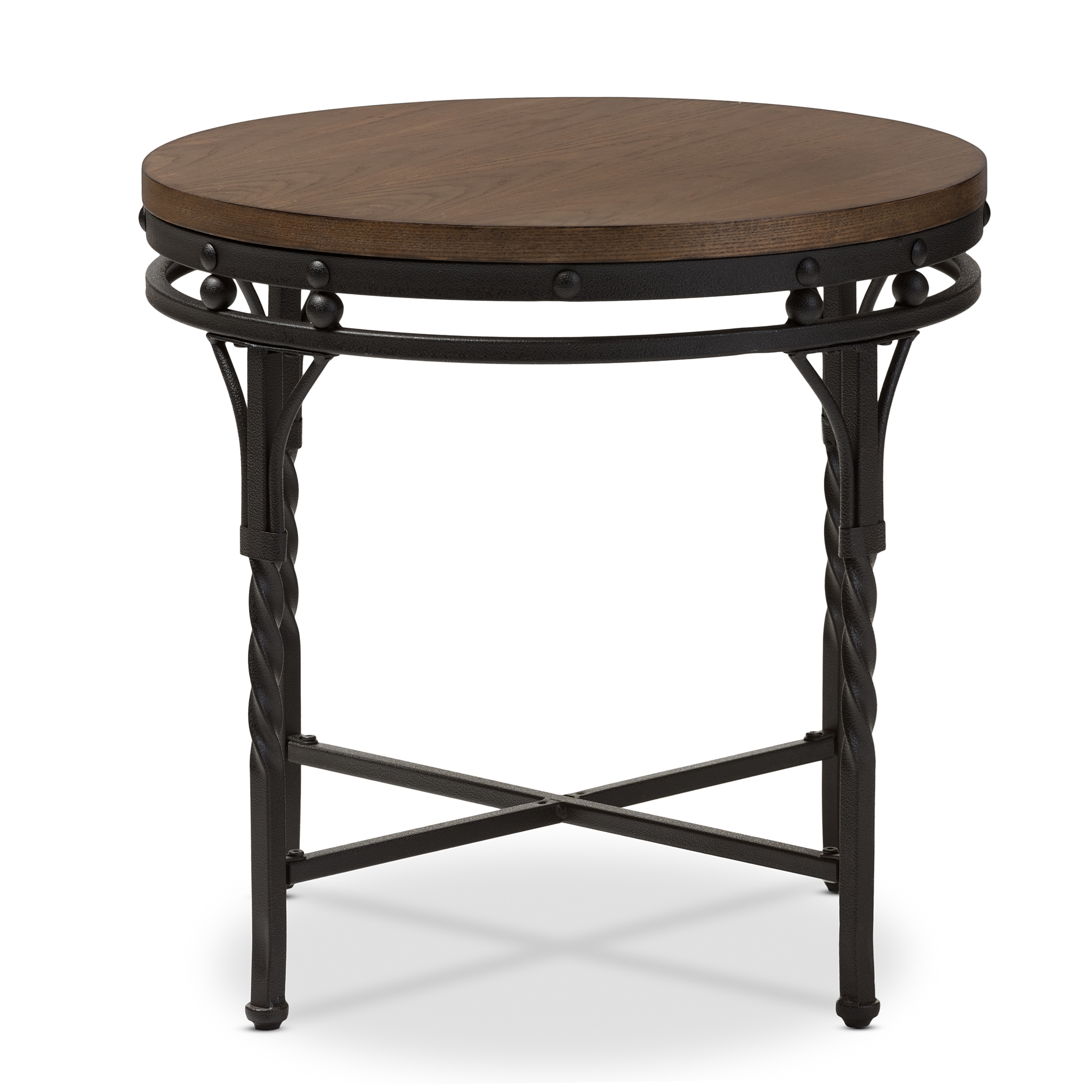 ... Baxton Studio Austin Vintage Industrial Antique Bronze Round End Table    BSOYLX 2687 ET ...