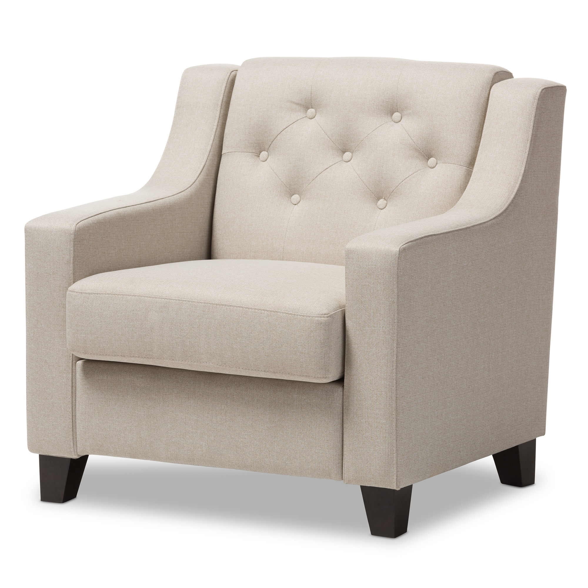Baxton studio arcadia modern and contemporary light beige - Modern upholstered living room chairs ...