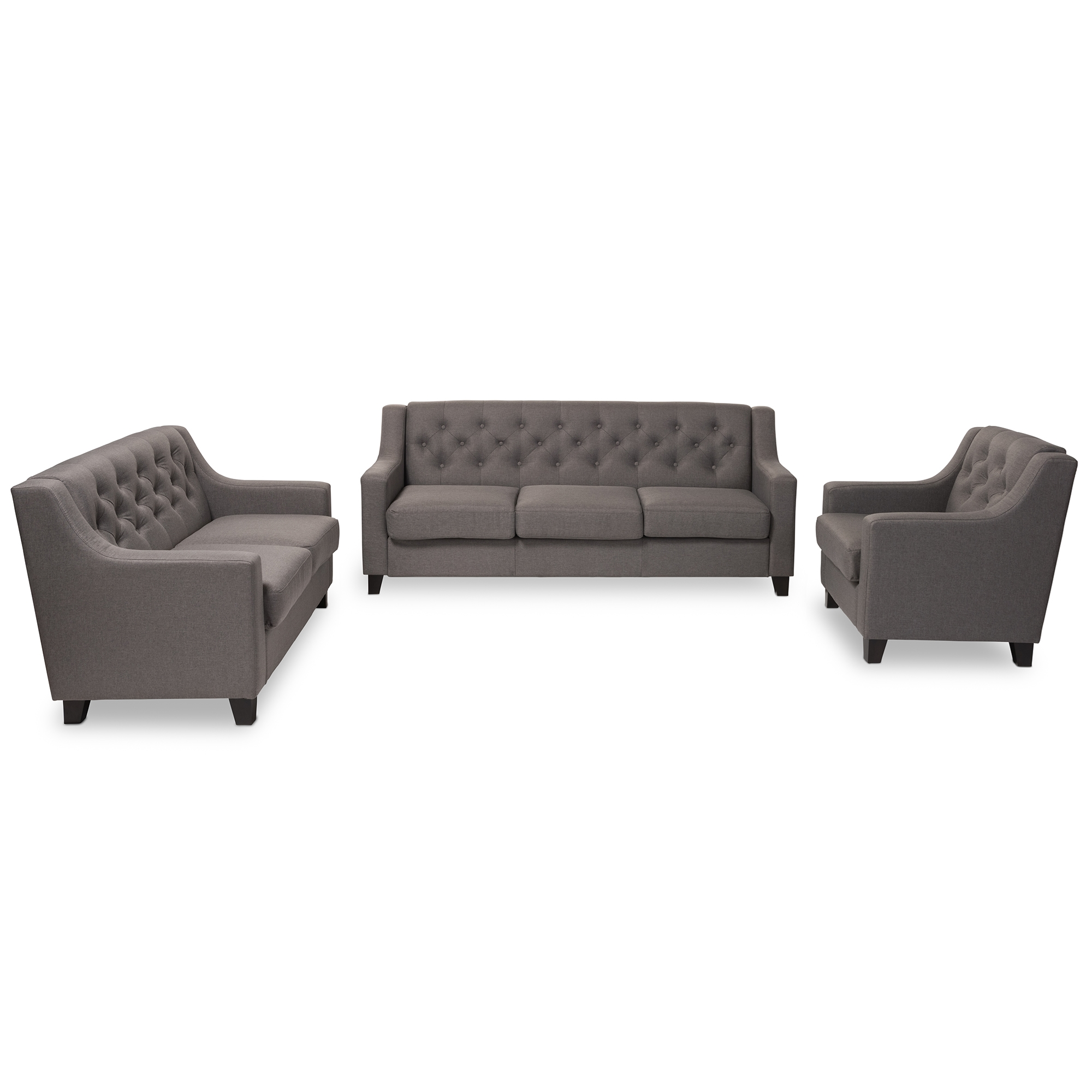 Baxton Studio Arcadia Modern And Contemporary Grey Fabric Upholstered  Button Tufted 3 Piece Living Room Sofa Set