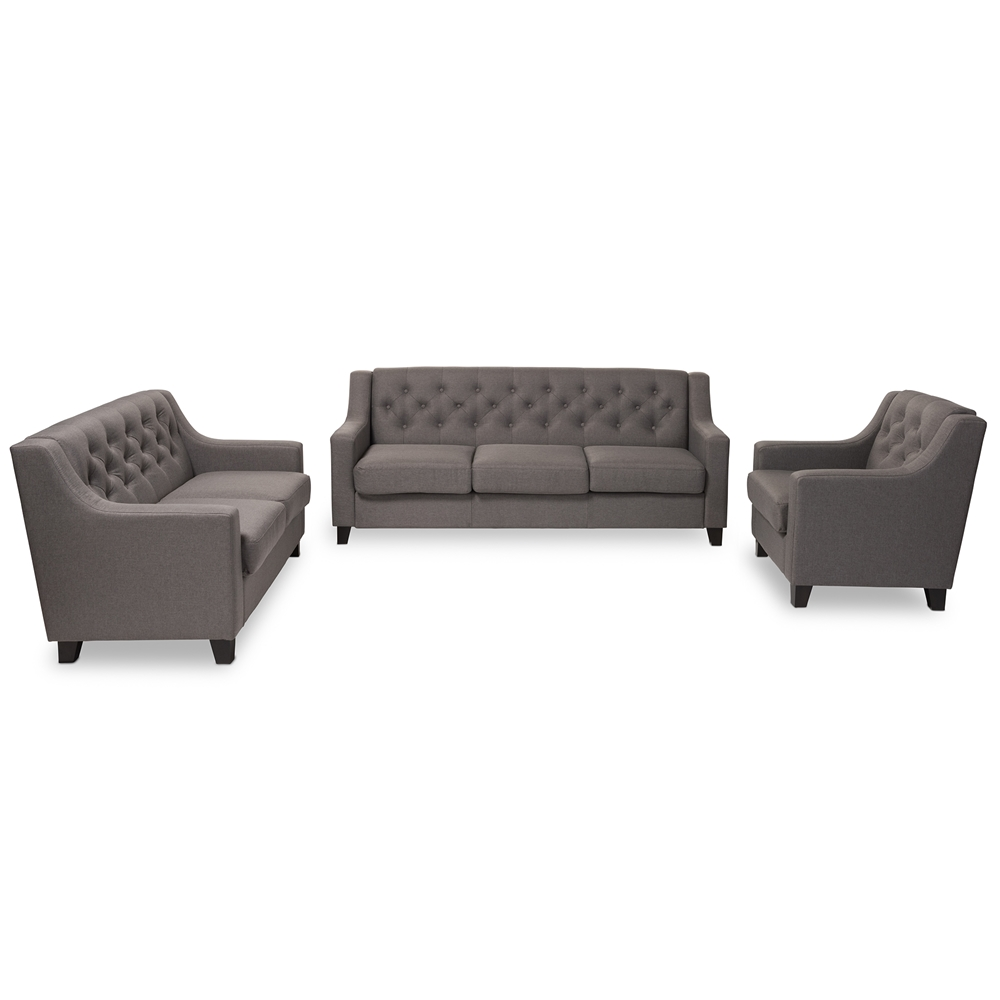 baxton studio arcadia modern and contemporary grey fabric upholsteredbuttontufted piece living room sofa set. baxton studio arcadia modern and contemporary grey fabric