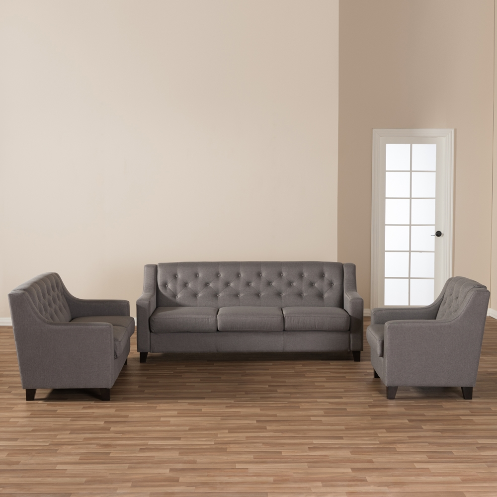 Baxton Studio Arcadia Modern and Contemporary Grey Fabric Upholstered  Button Tufted 3 Piece Living Room Sofa Set. Baxton Studio Arcadia Modern and Contemporary Grey Fabric