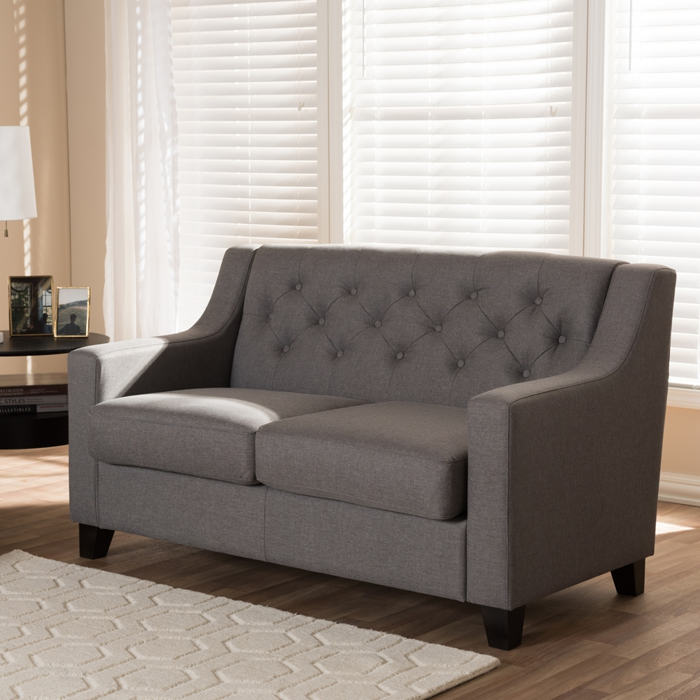 Tufted Living Room Chair Baxton Studio Arcadia Modern And Contemporary Grey Fabric