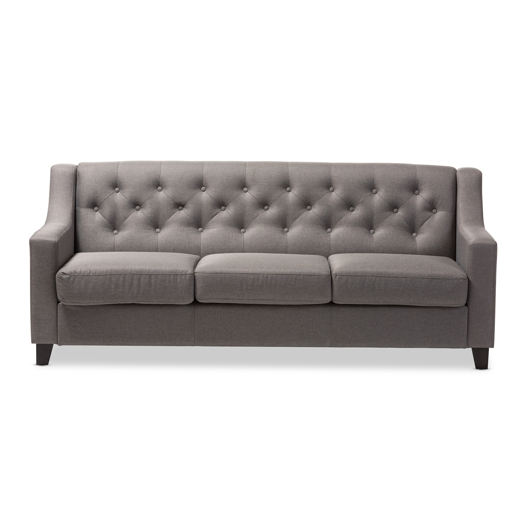 ... Baxton Studio Arcadia Modern And Contemporary Grey Fabric Upholstered  Button Tufted Living Room 3  ...