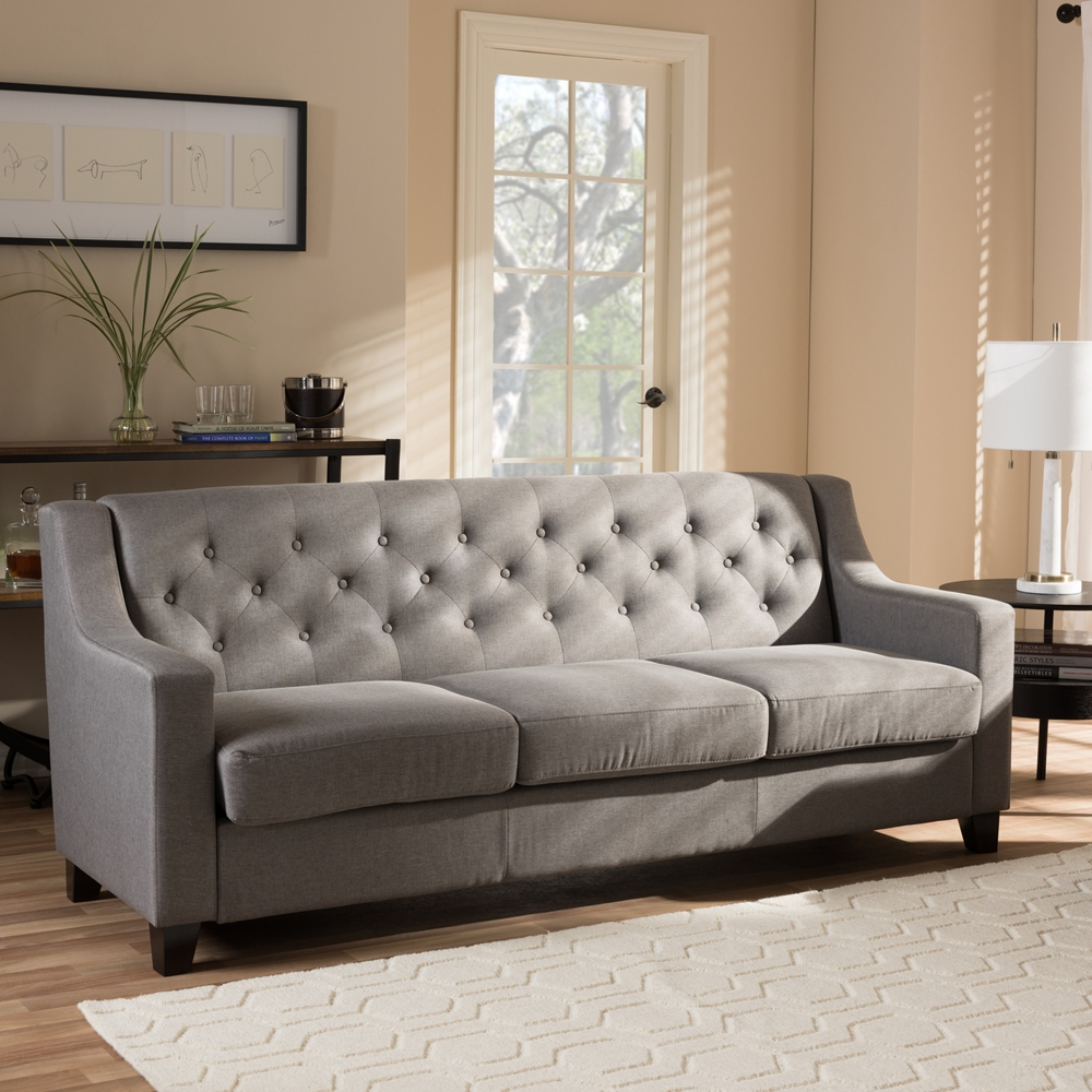 Baxton studio arcadia modern and contemporary grey fabric for 7 seater living room