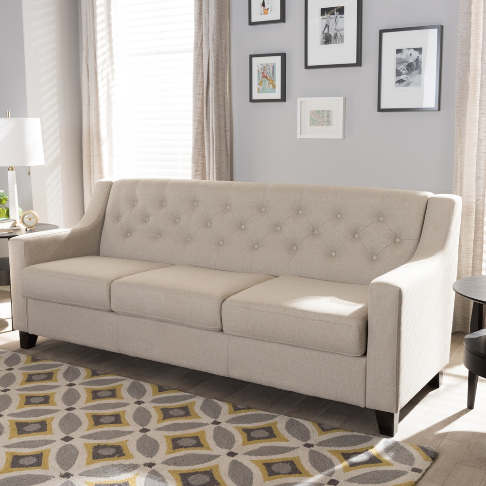 tufted living room furniture.  Baxton Studio Arcadia Modern and Contemporary Light Beige Fabric Upholstered Button Tufted Living Room 3