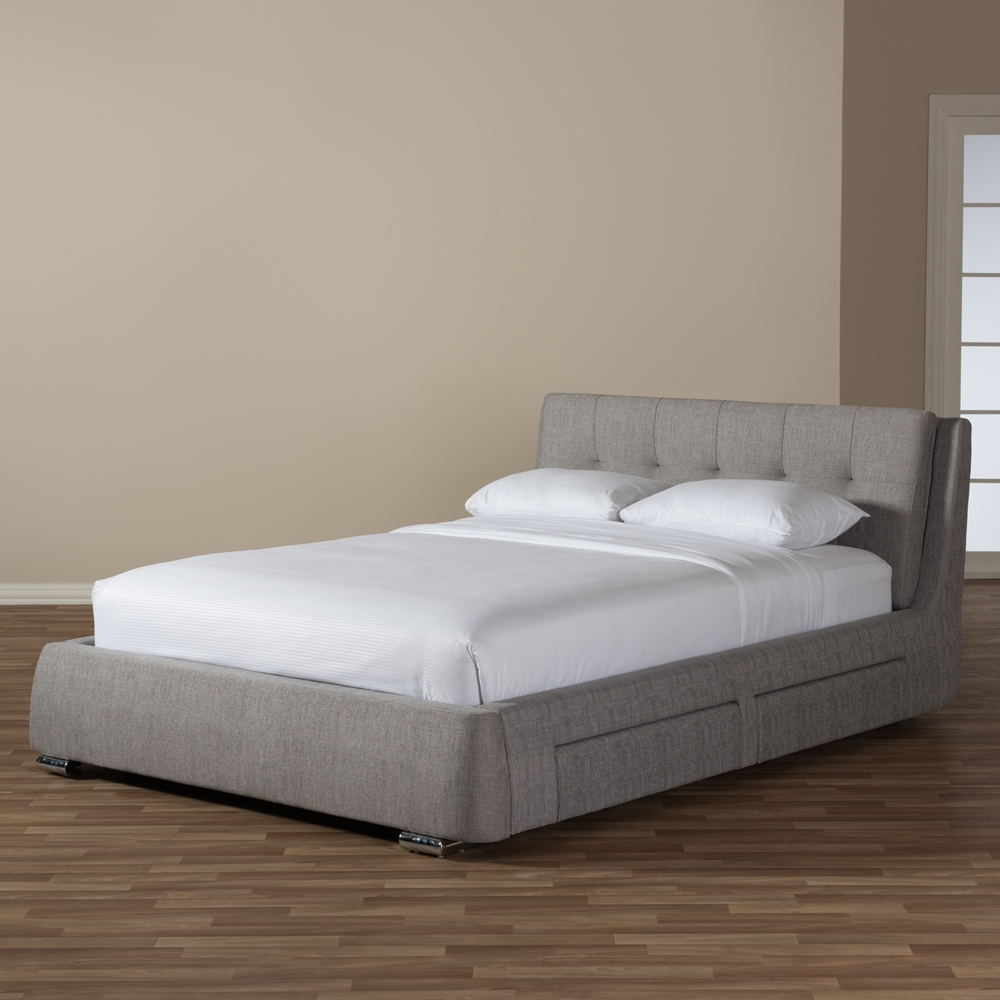 Baxton studio camile modern and contemporary grey fabric for Fabric bed frame with storage