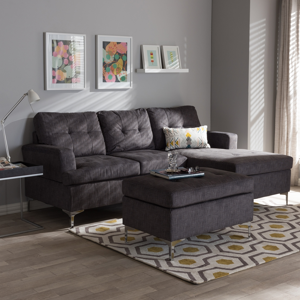 Baxton Studio Riley Modern and Contemporary Grey Fabric