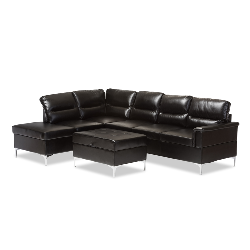 Baxton Studio Kinsley Modern and Contemporary Black Faux Leather  Upholstered 3-Piece Sectional Sofa with Storage Ottoman Large Set - Baxton Studio Kinsley Modern And Contemporary Black Faux Leather