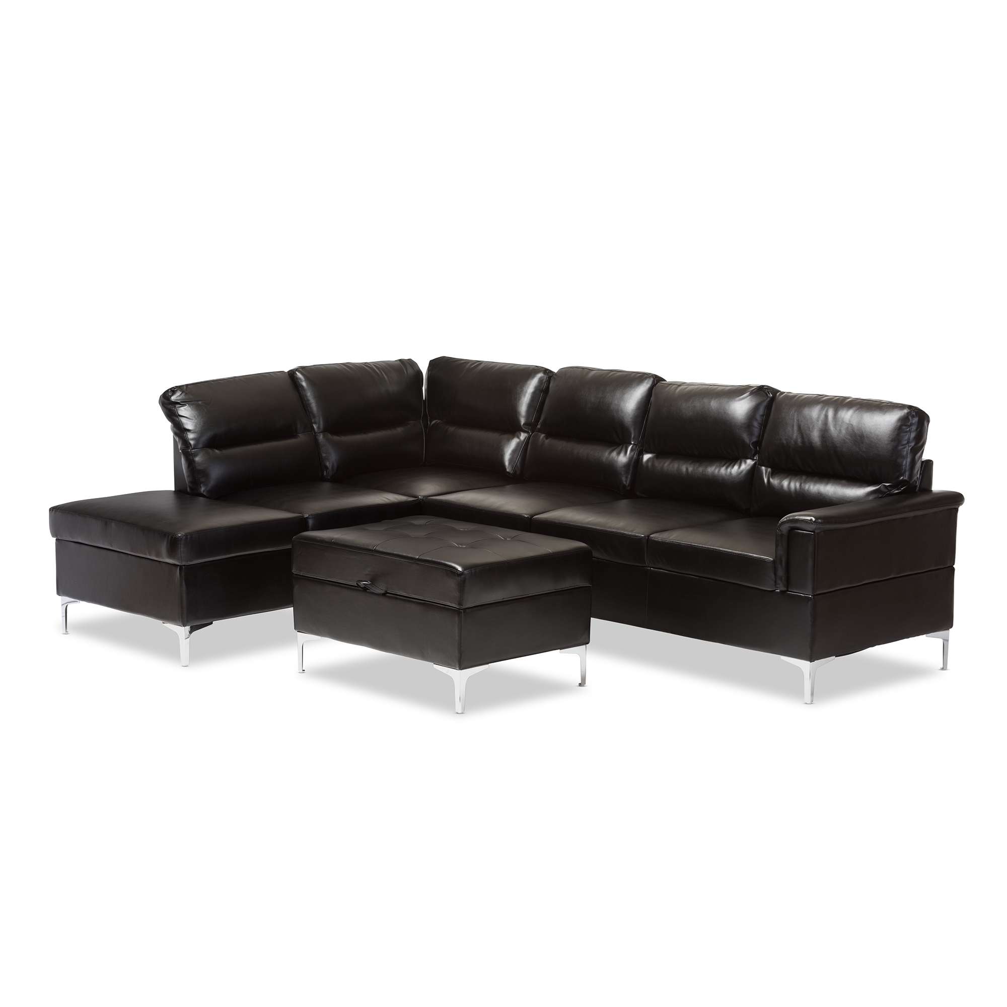Baxton Studio Kinsley Modern and Contemporary Black Faux Leather Upholstered 3-Piece Sectional Sofa with Storage Ottoman Large Set  sc 1 st  Baxton Studio Outlet : three piece sectional - Sectionals, Sofas & Couches