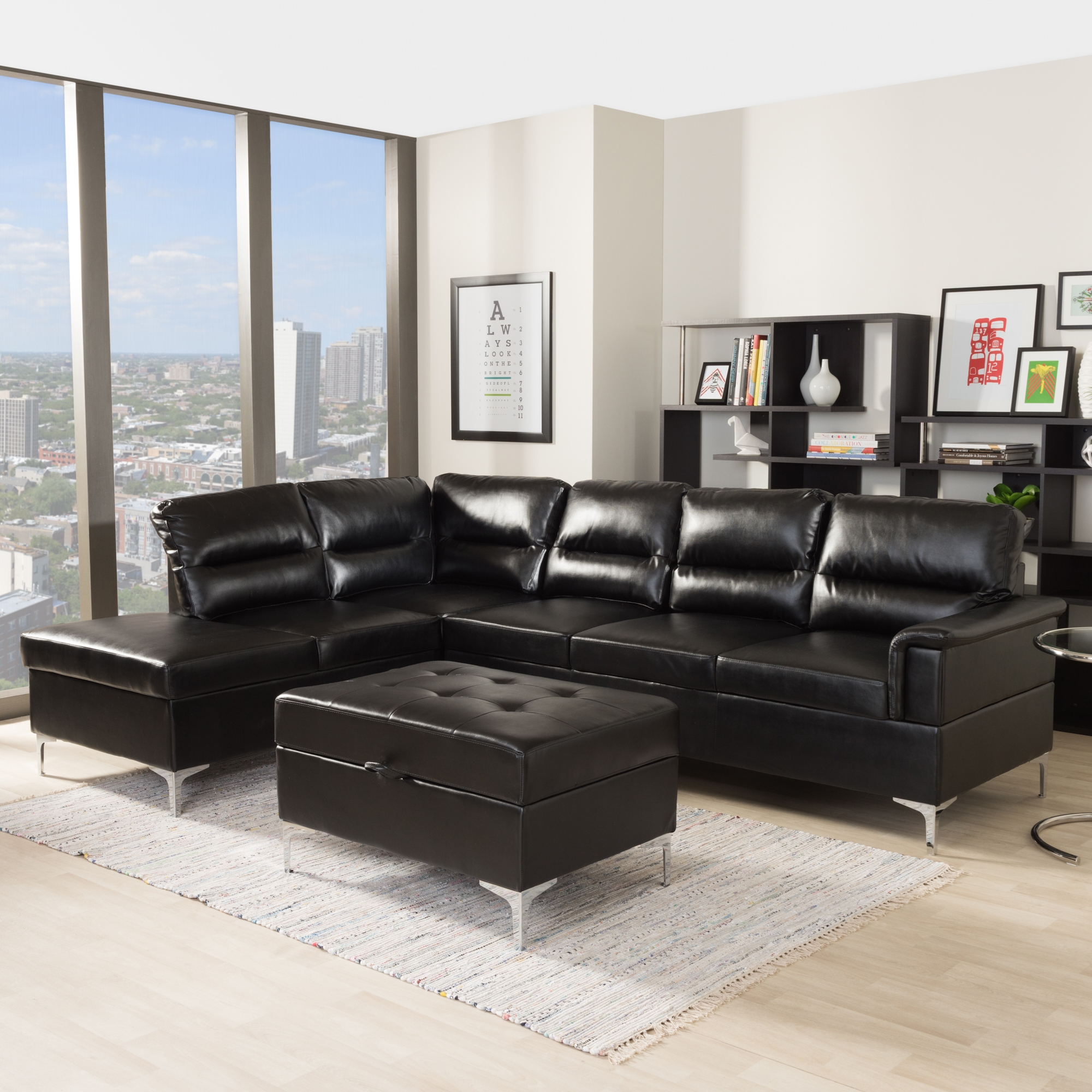 baxton studio kinsley modern and black faux leather upholstered 3piece sectional sofa with - 3 Piece Sectional Sofa