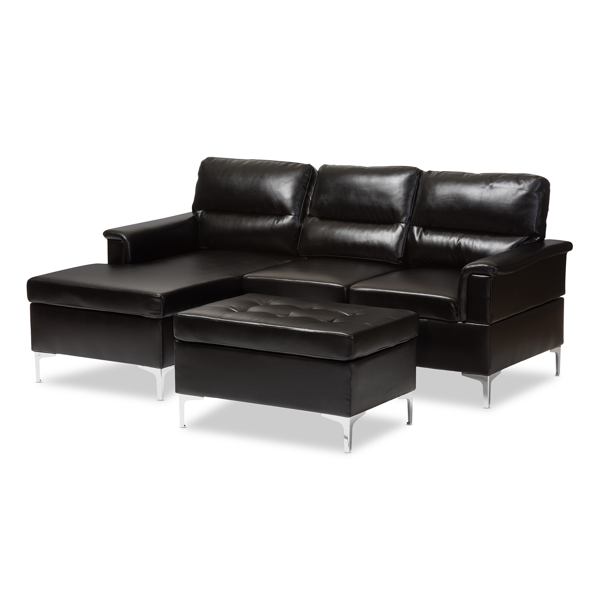 Baxton Studio Kinsley Modern And Contemporary Black Faux Leather  Upholstered 3 Piece Sectional Sofa And