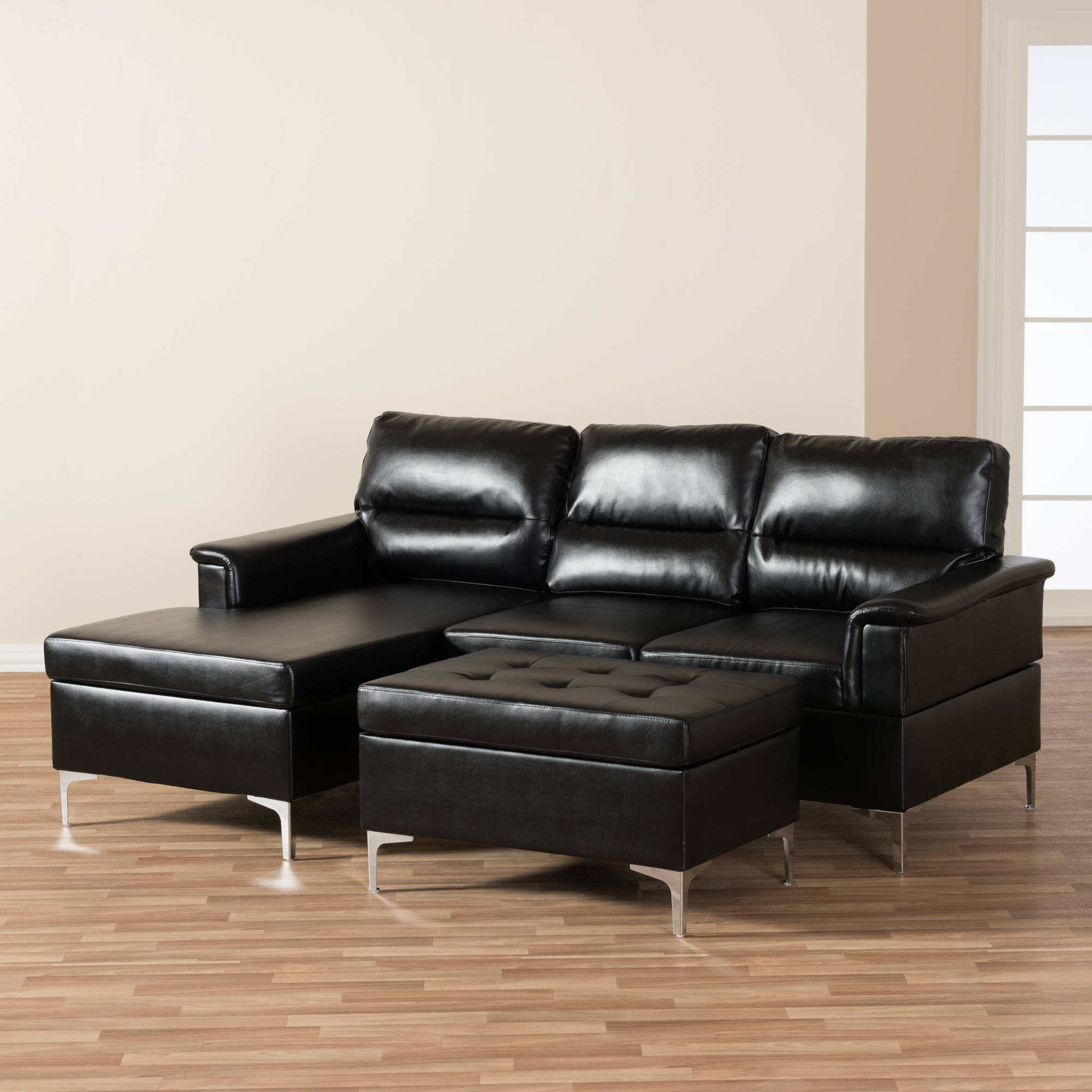 ... Baxton Studio Kinsley Modern And Contemporary Black Faux Leather  Upholstered 3 Piece Sectional Sofa And