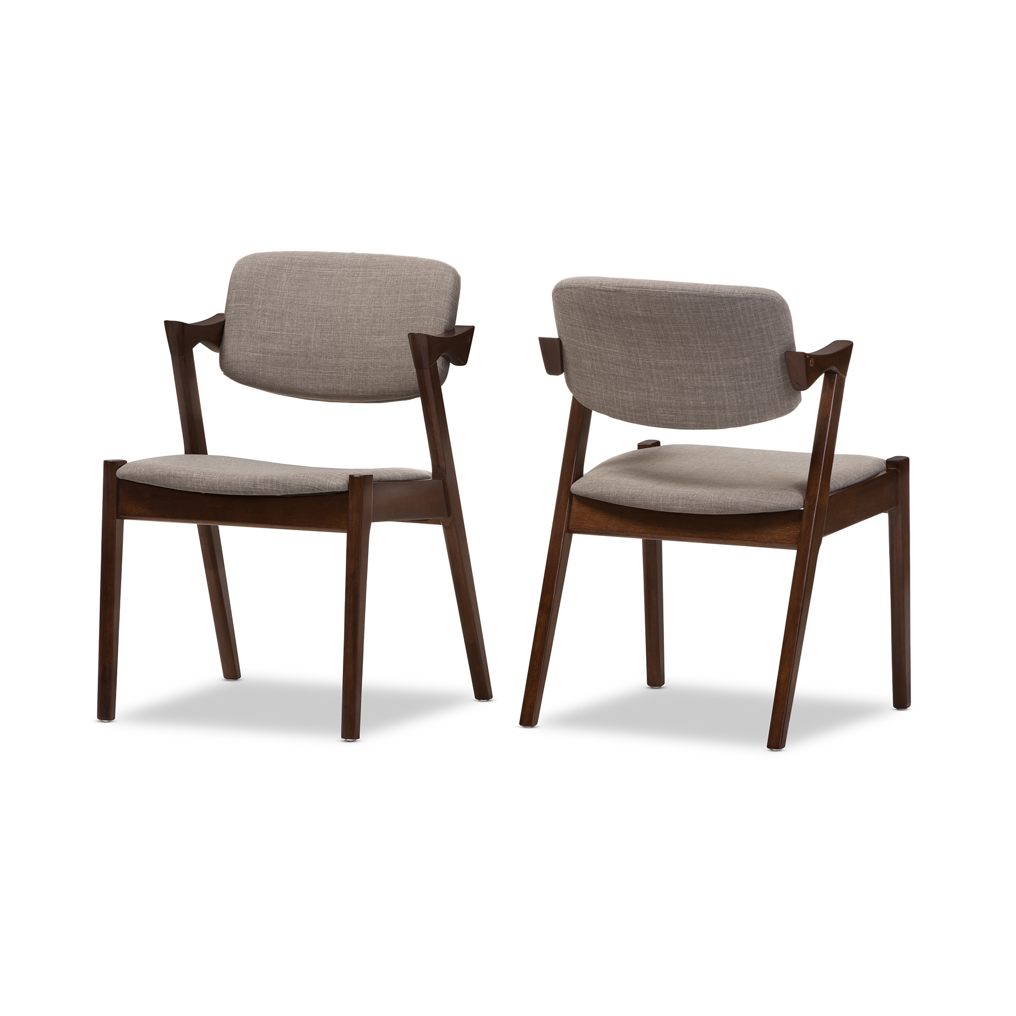 Baxton studio elegant mid century dark walnut wood grey for Elegant upholstered dining chairs