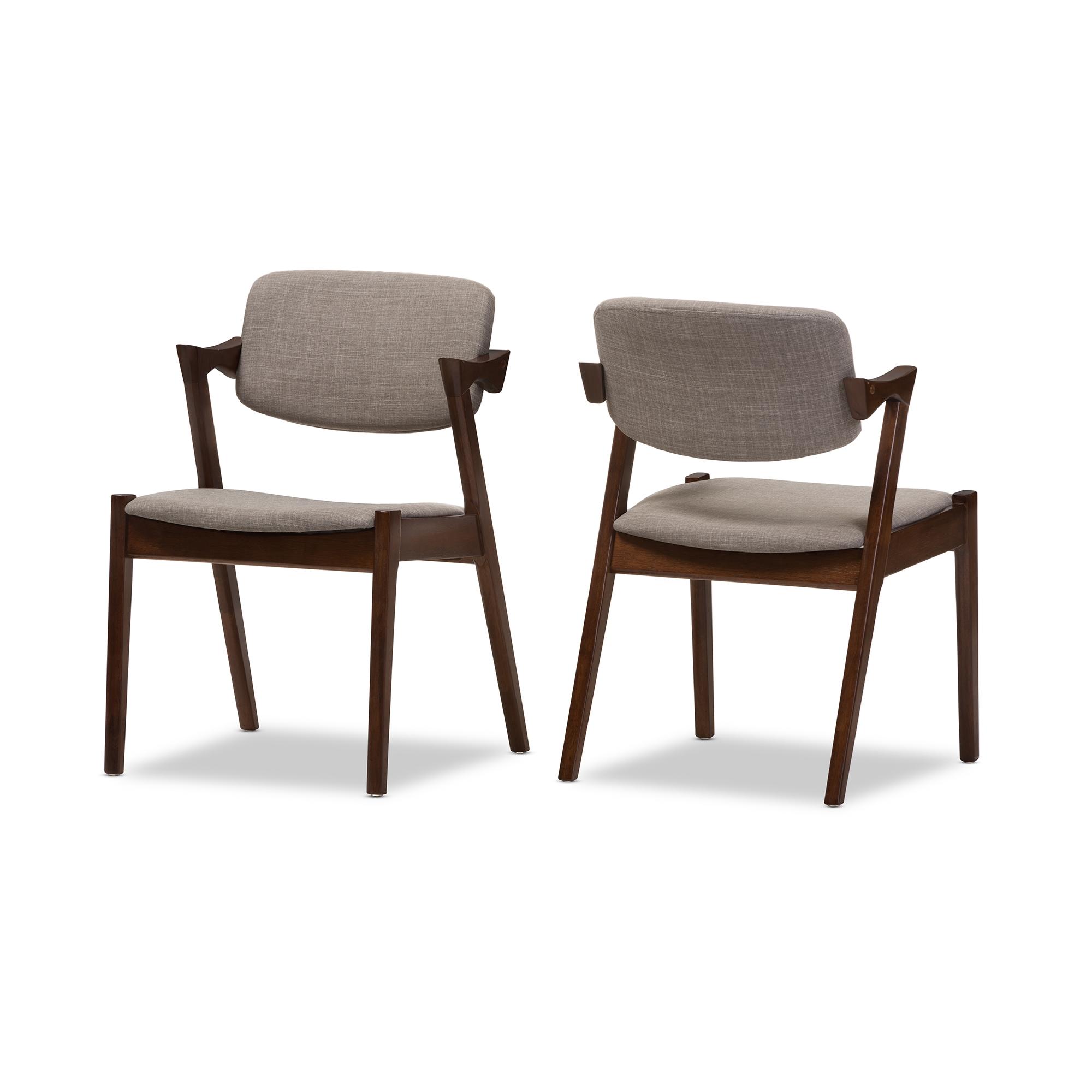 Baxton Studio Elegant Mid Century Dark Walnut Wood Grey Fabric Upholstered  Dining Armchair (Set ...