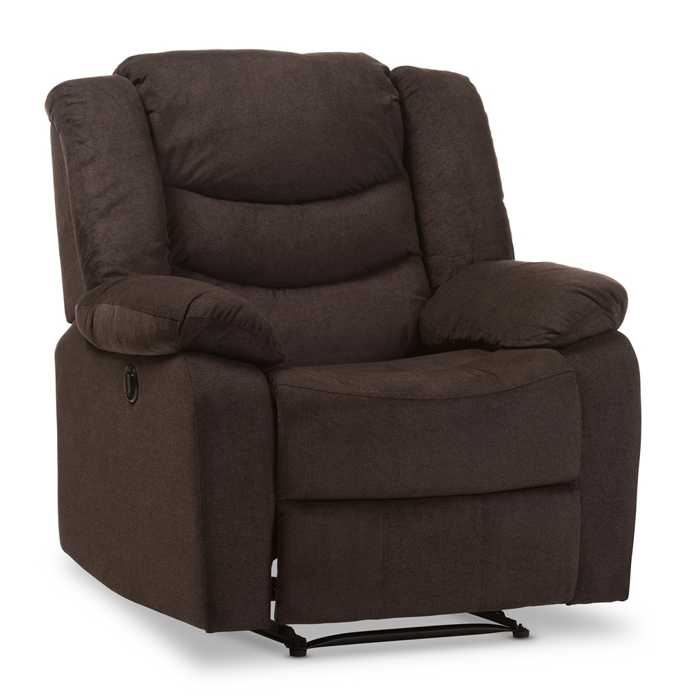 Affordable reclining chairs - Baxton Studio Lynette Modern And Contemporary Godiva Brown Fabric Power Recliner Chair Affordable Modern Furniture In