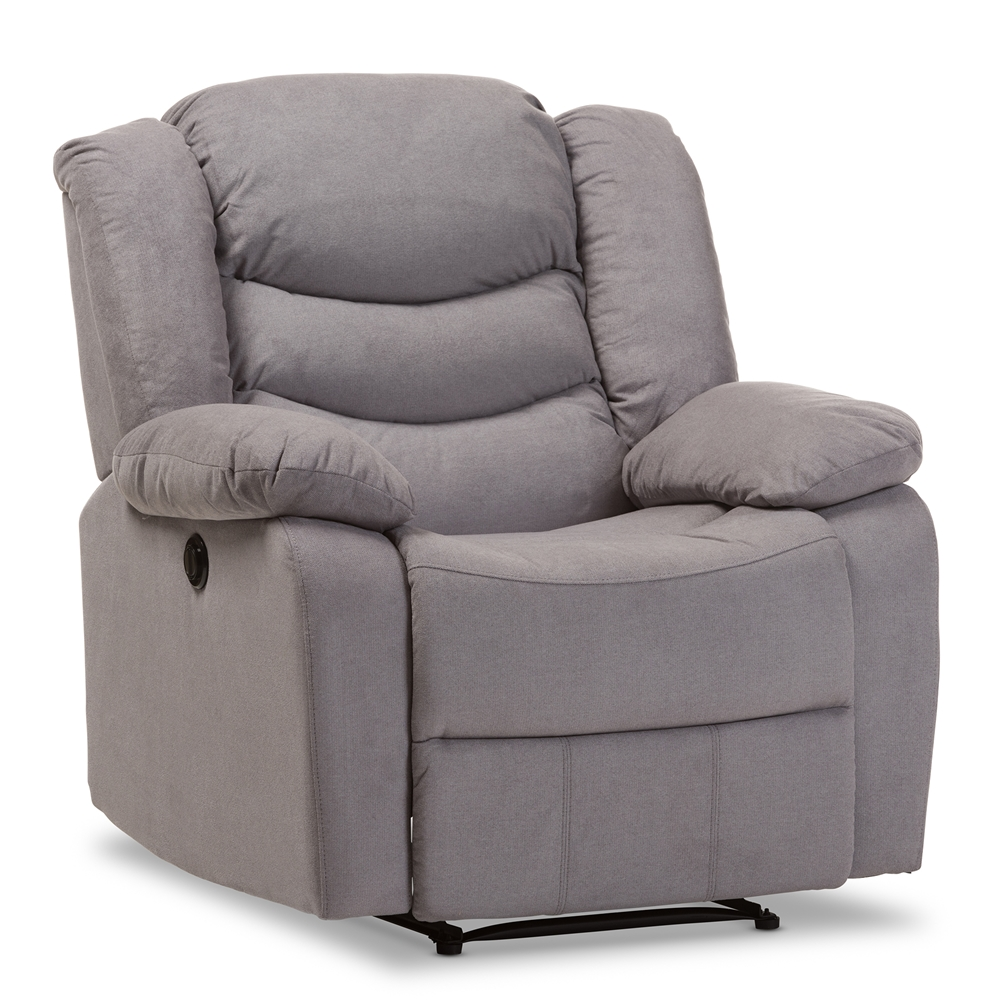 Contemporary fabric chairs - Baxton Studio Lynette Modern And Contemporary Grey Fabric Power Recliner Chair
