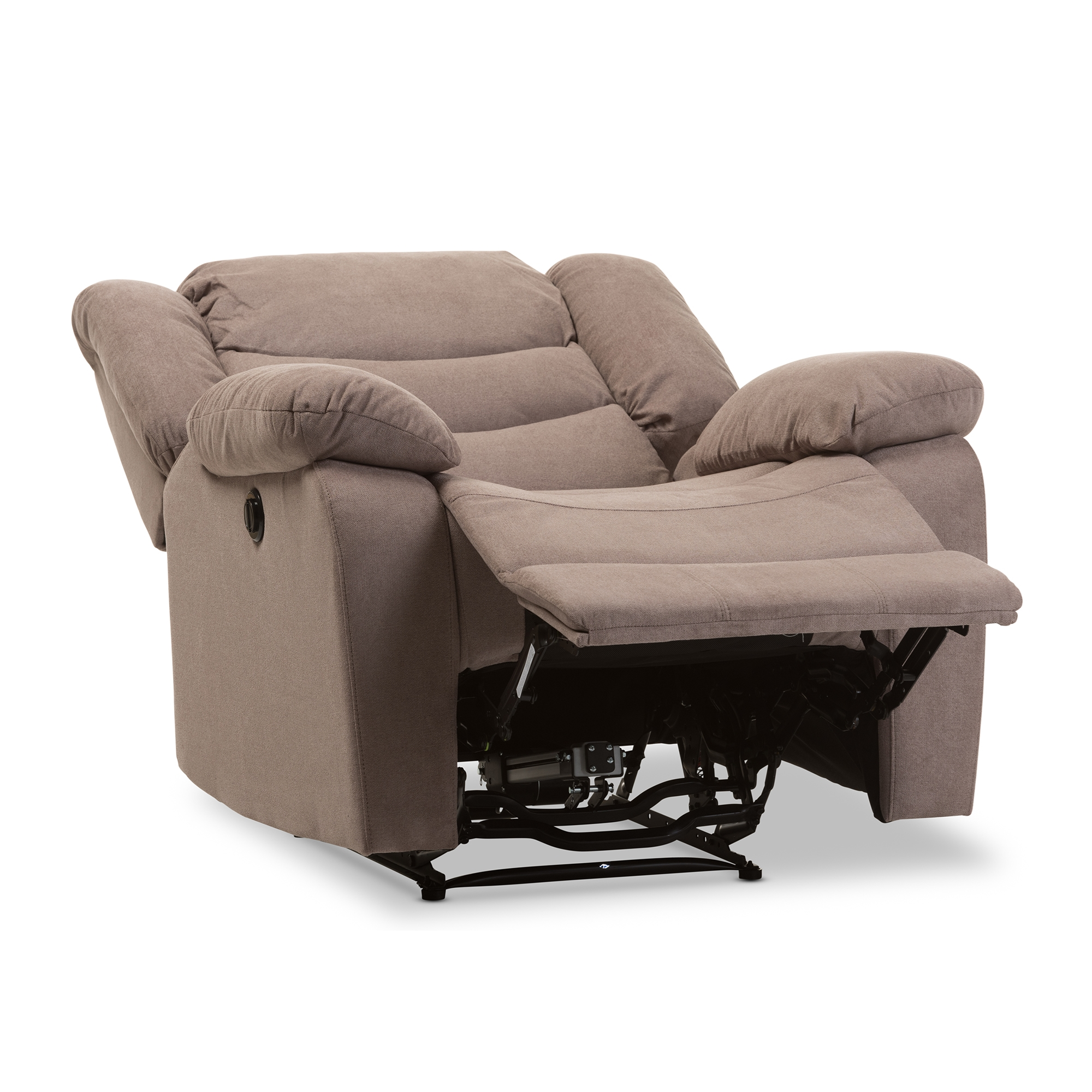 baxton studio lynette modern and taupe fabric power recliner chair - Electric Recliner Chairs