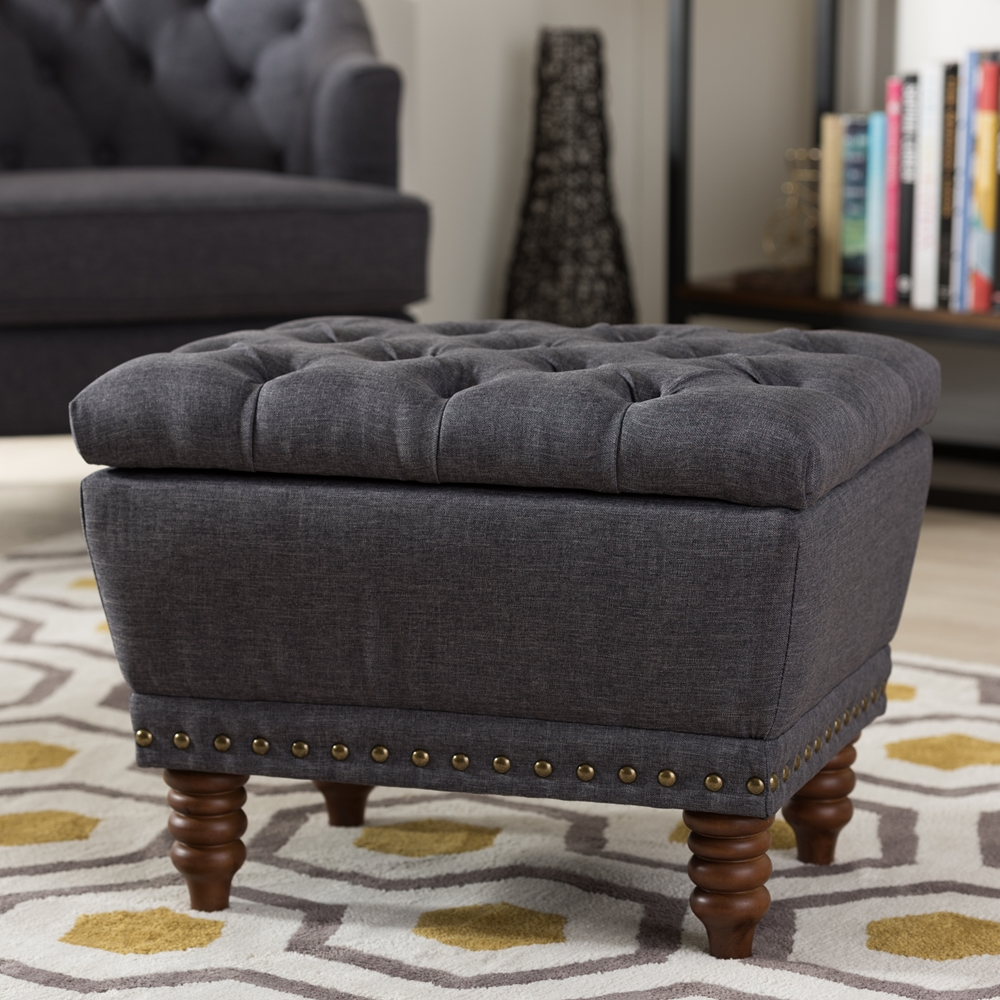 Dark Wood Ottoman ~ Baxton studio annabelle modern and contemporary dark grey