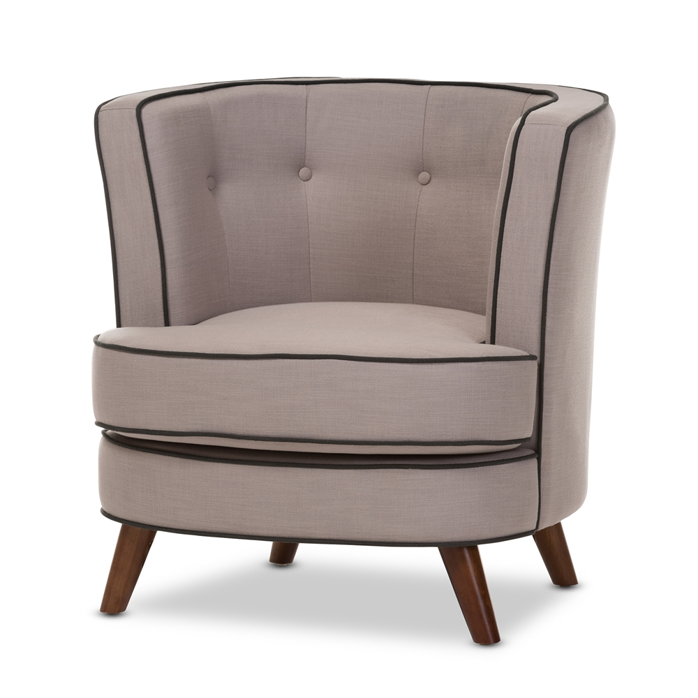 accent chairs  living room furniture  affordable modern  - baxton studio albany midcentury modern beige fabric upholstered walnutwood buttontufted accent