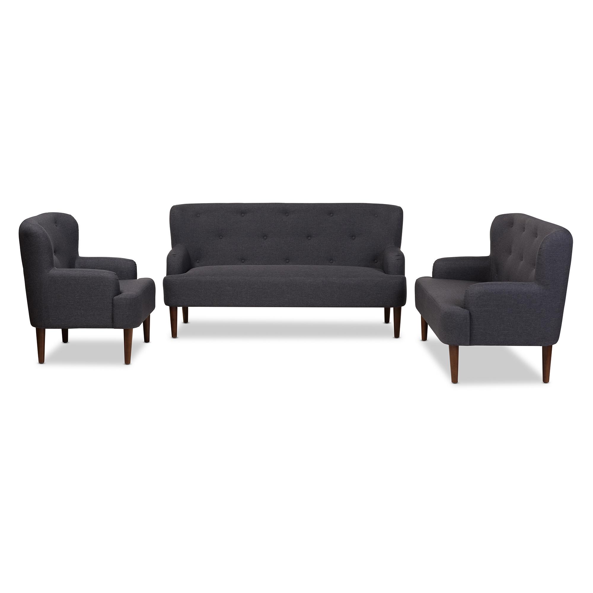 Perfect Baxton Studio Toni Mid Century Modern Dark Grey Fabric Upholstered Walnut  Wood Button Tufted 3 Piece Sofa Set